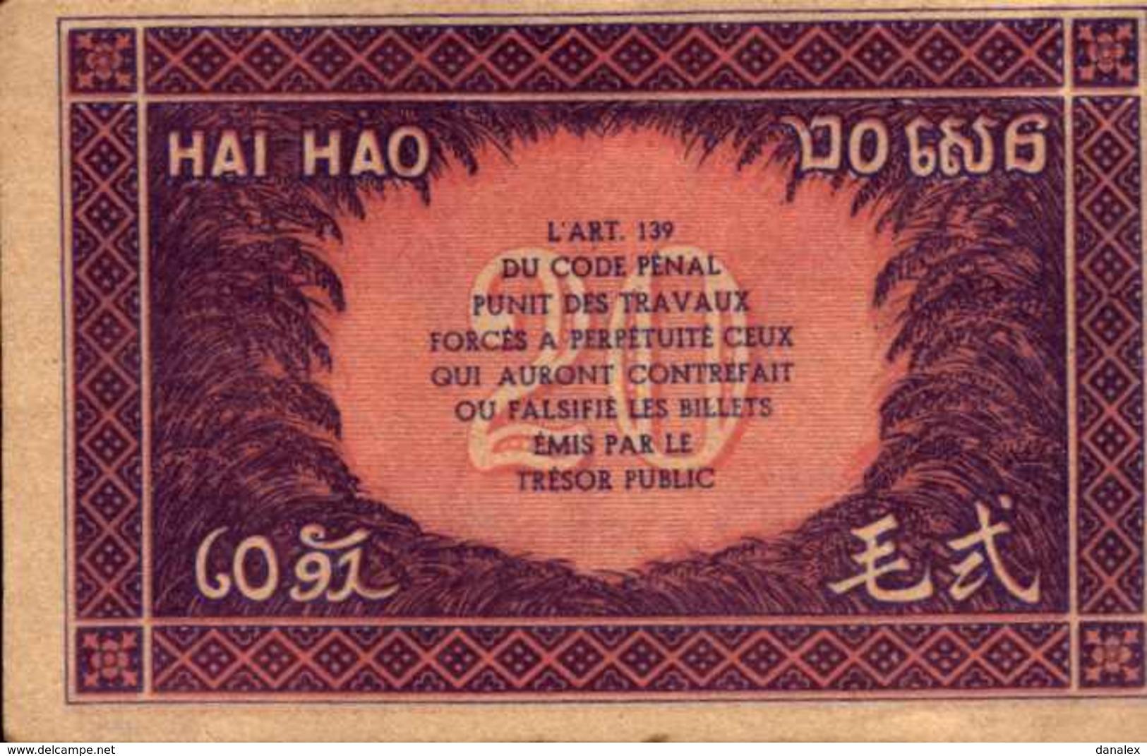 INDOCHINE Gouvernement Général 20 CENTS De 1942nd Pick 90 - Indochine