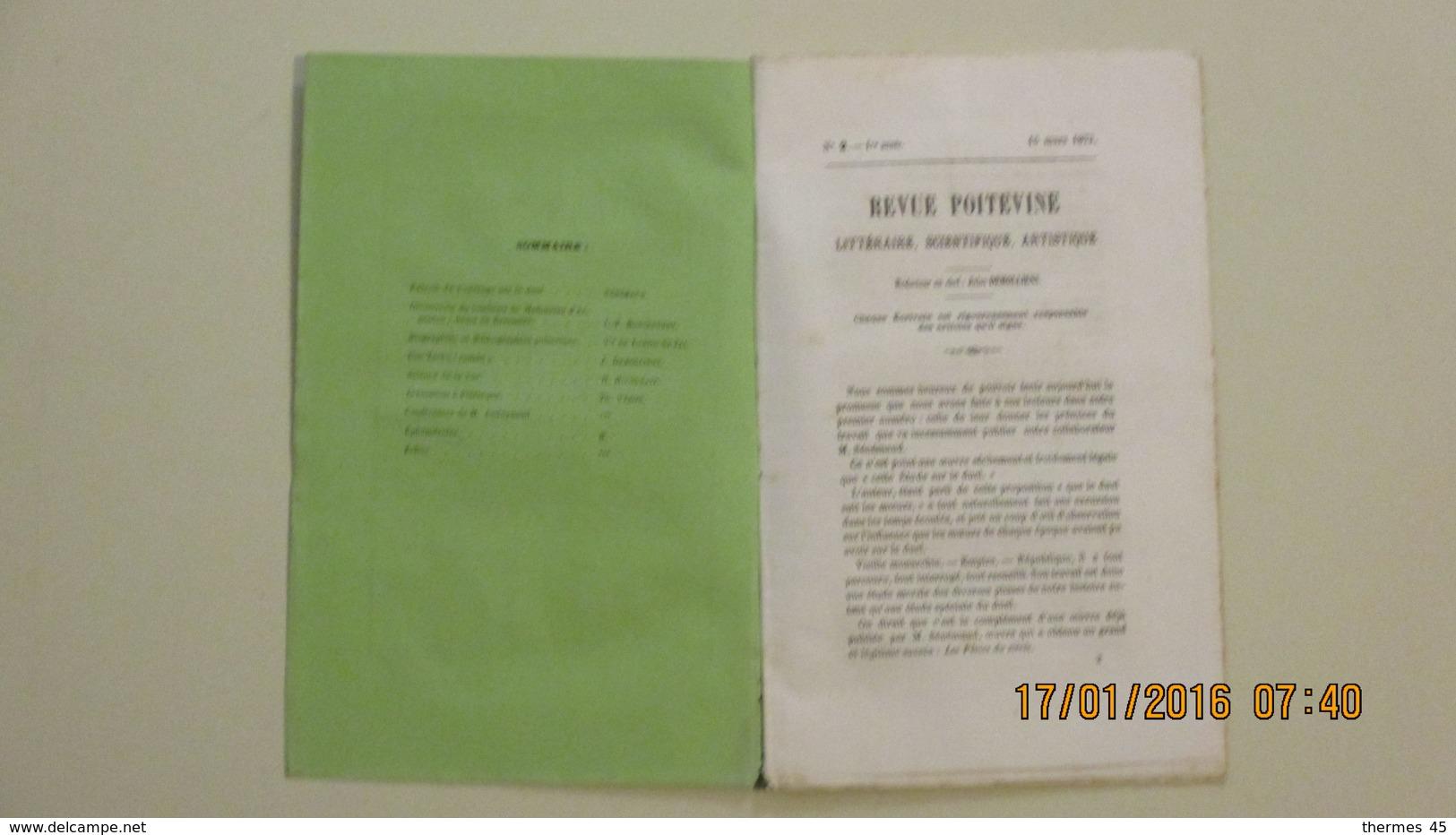 REVUE POITEVINE / 1ère Année N° 2 / 15 Mars 1873. - Poitou-Charentes