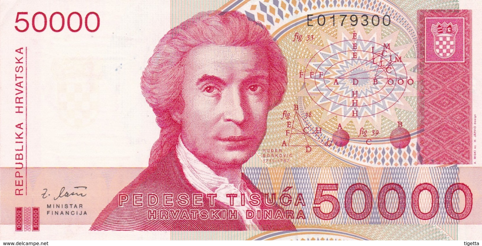 CROAZIA 50000 DINARA 1993   FDS - Croatie