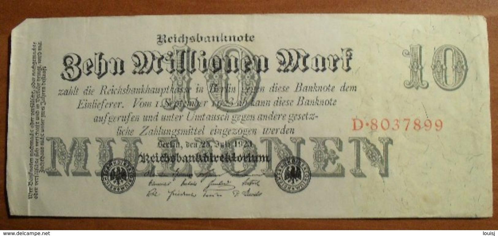 1923 - Allemagne - Germany - Weimar - ZEHN MILLIONEN MARK, Berlin, Den 25 Juli 1923, D.8037899 - [ 3] 1918-1933 : Weimar Republic