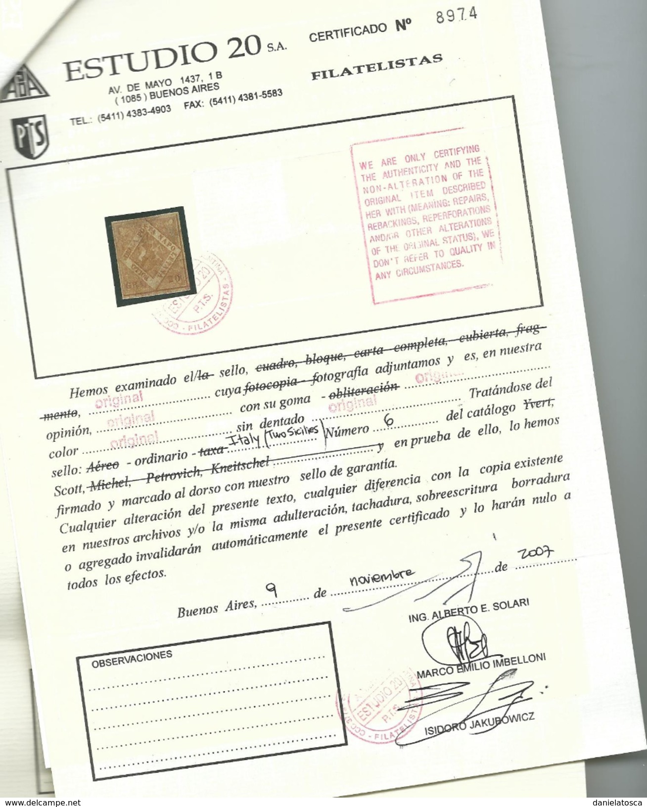 Napoli, Sassone 12 Linguellato  Certificato Solari (sass,15000 E) - Napoli