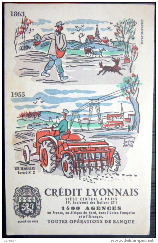 2 BUVARDS  ANCIENS TRACTEUR LABOUR SEMAILLES BANQUE CREDIT LYONNAIS  DEUX EXEMPLAIRES - Agriculture