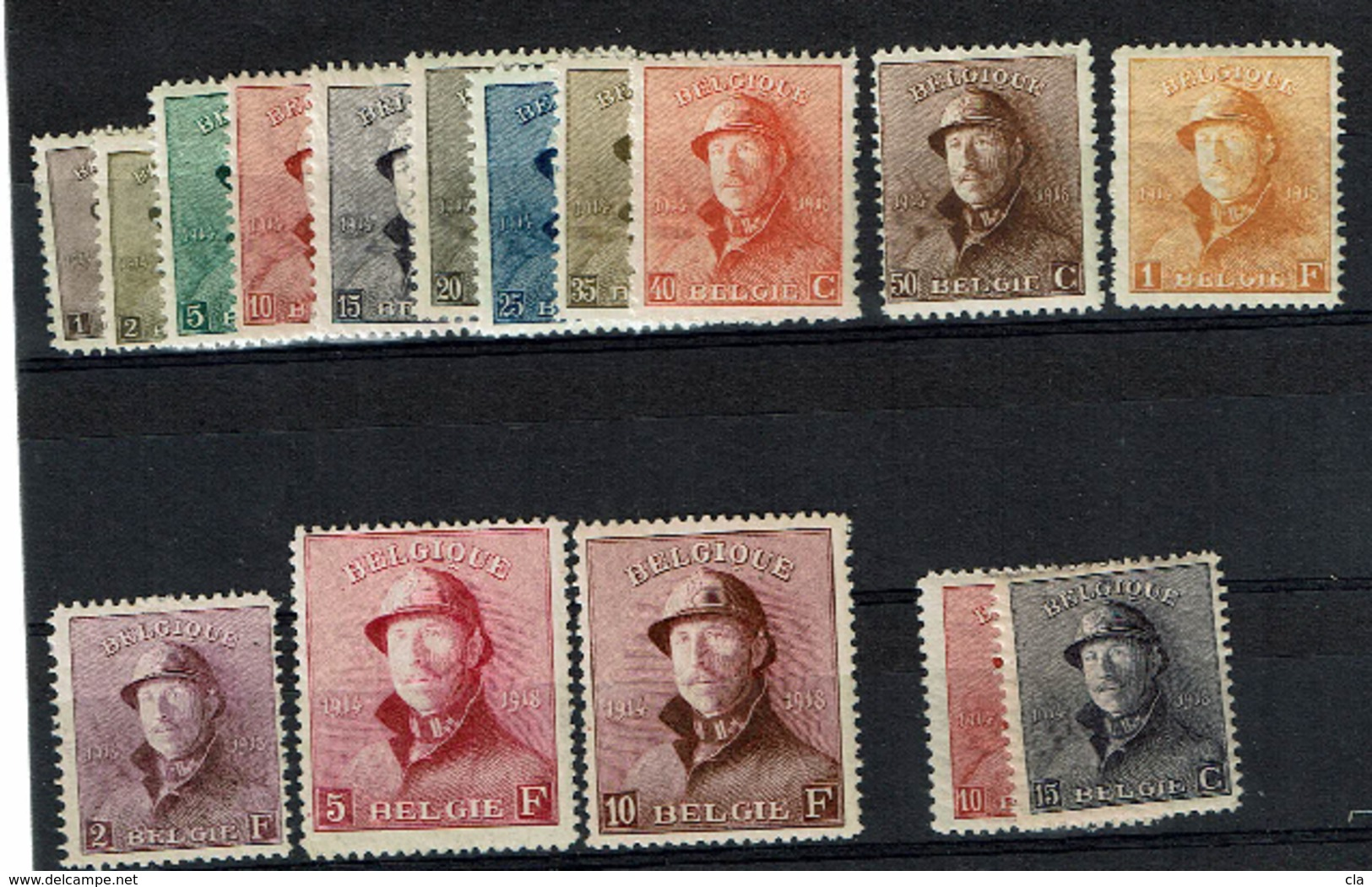 165/78 + 8A/9A  **  2240 - 1919-1920 Roi Casqué