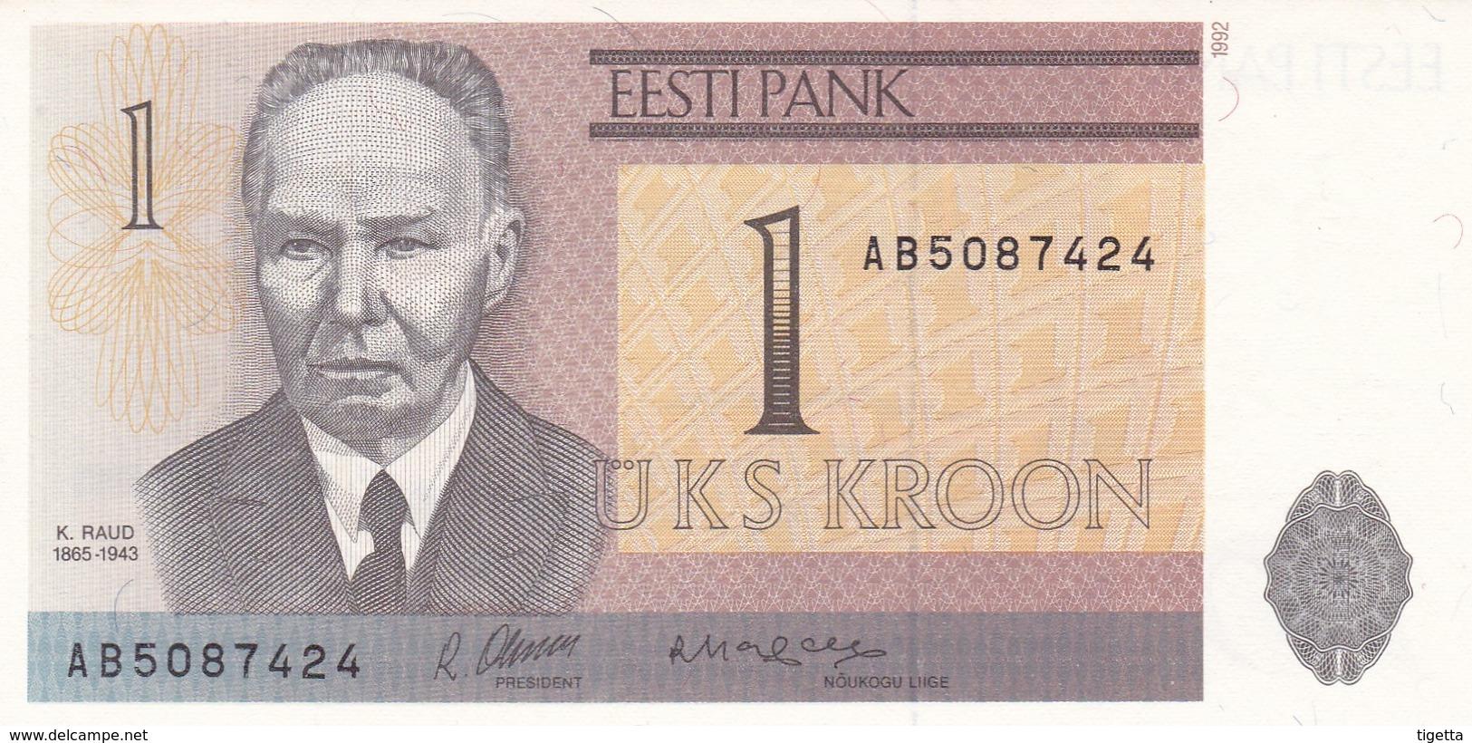 ESTONIA  1 KROON  1992   FDS - Estonia