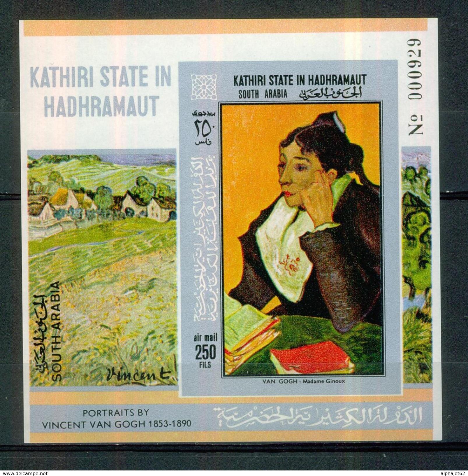 Art, Peinture, Tableaux - KATHIRI STATE OF HADRAMAUT - Van Gogh: Portrait De Madame Ginoux - B.F Numéroté ** - 1968 - United Arab Emirates