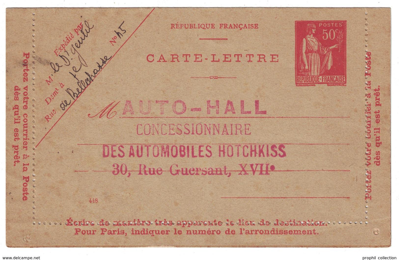 """RARE REPIQUAGE """"AUTO-HALL CONCESIONNAIRE AUTOMOBILES"""" (PARIS) Sur CARTE LETTRE (ENTIER POSTAL) Au TYPE PAIX 50c ROUGE - Entiers Postaux"""