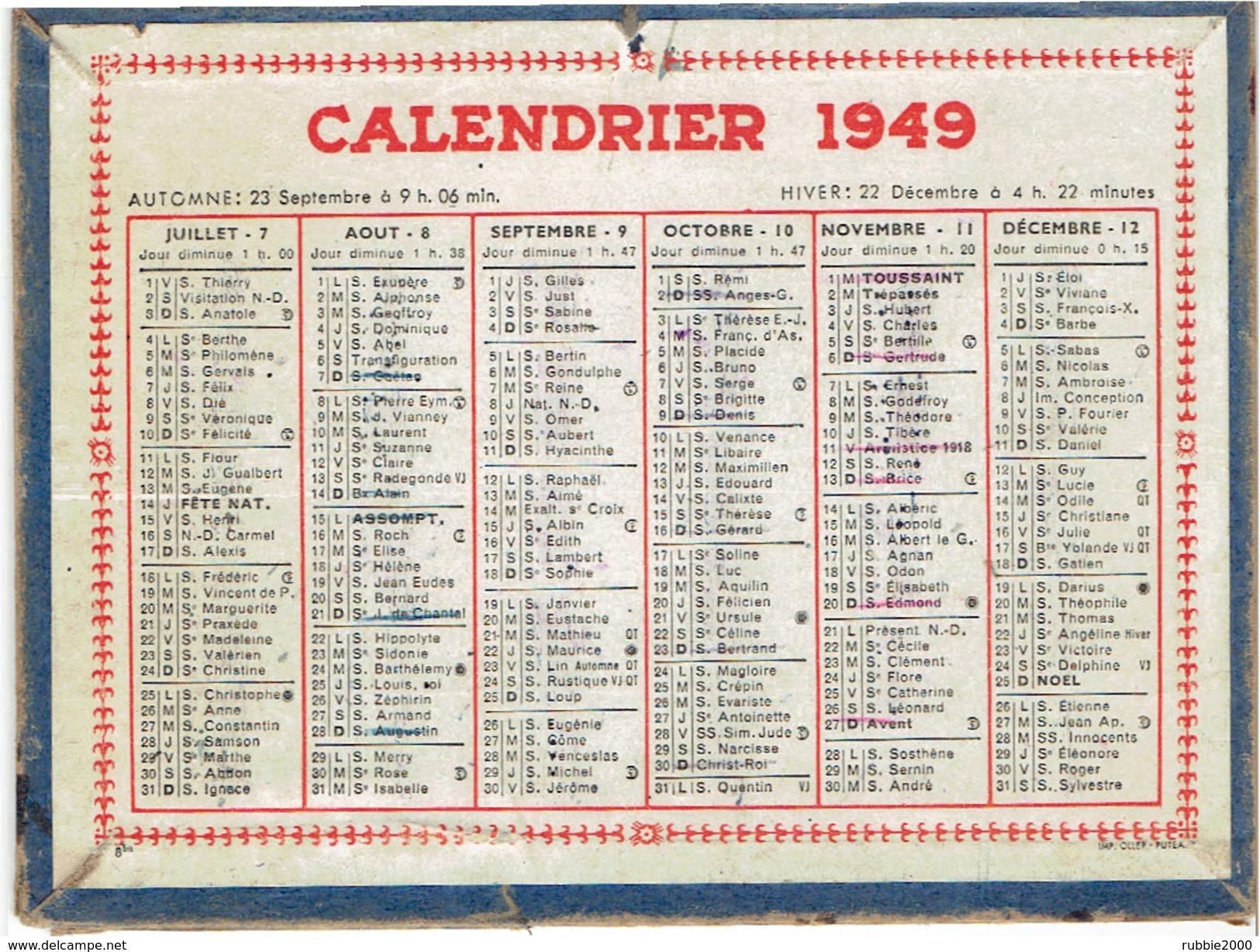 CALENDRIER CARTONNE 1949 IMPRIMEUR OLLER A PUTEAUX - Calendriers