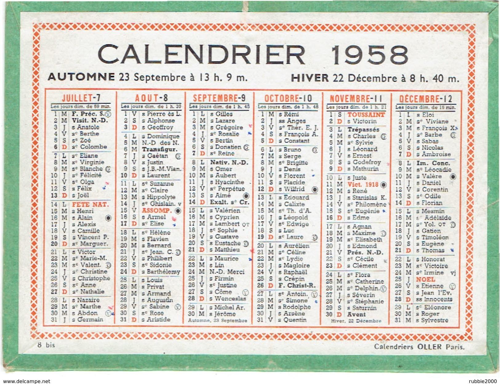 CALENDRIER CARTONNE 1958 IMPRIMEUR OLLER - Calendriers
