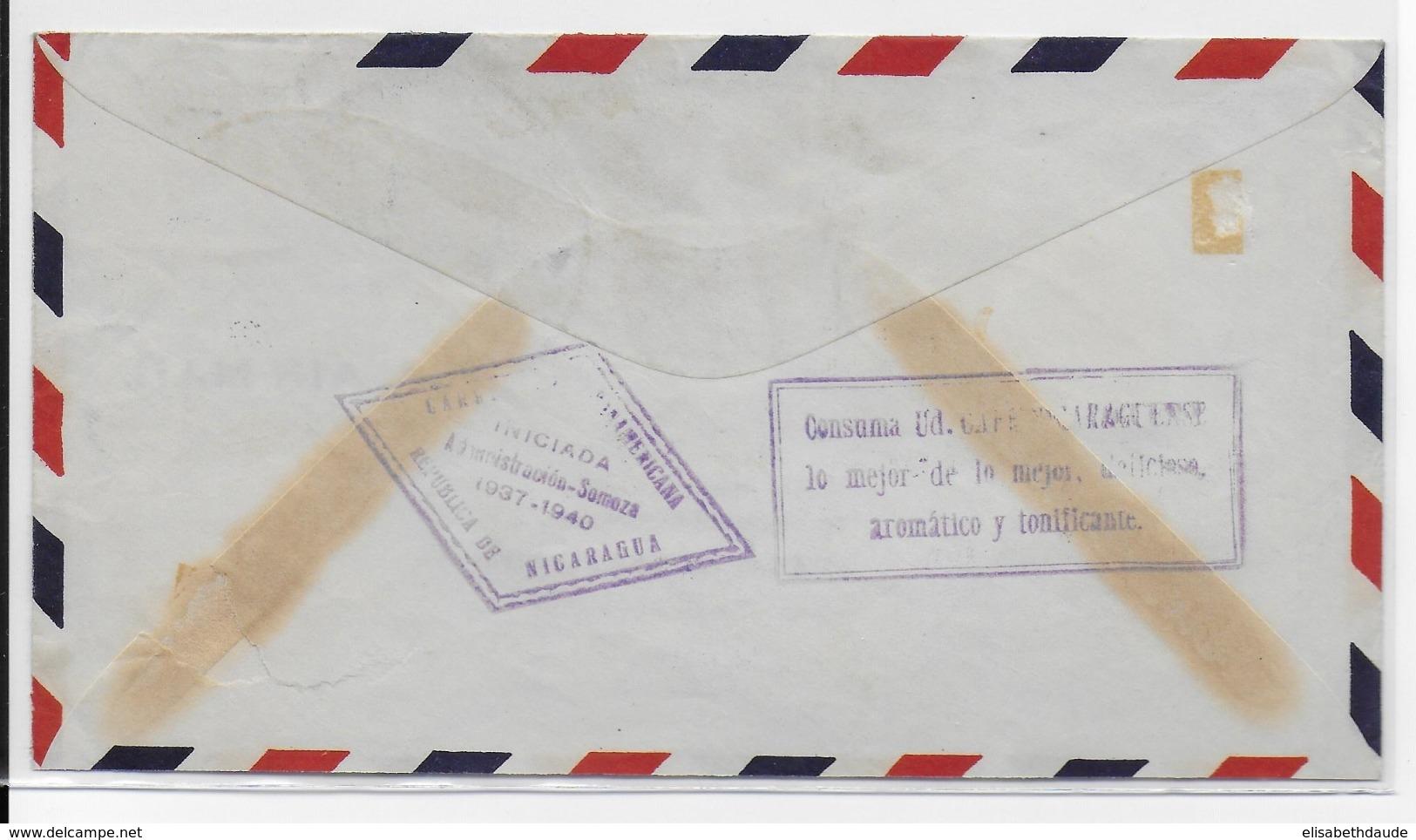 NICARAGUA - 1937 - ENVELOPPE Par AVION De MANAGUA Pour LYON - Nicaragua