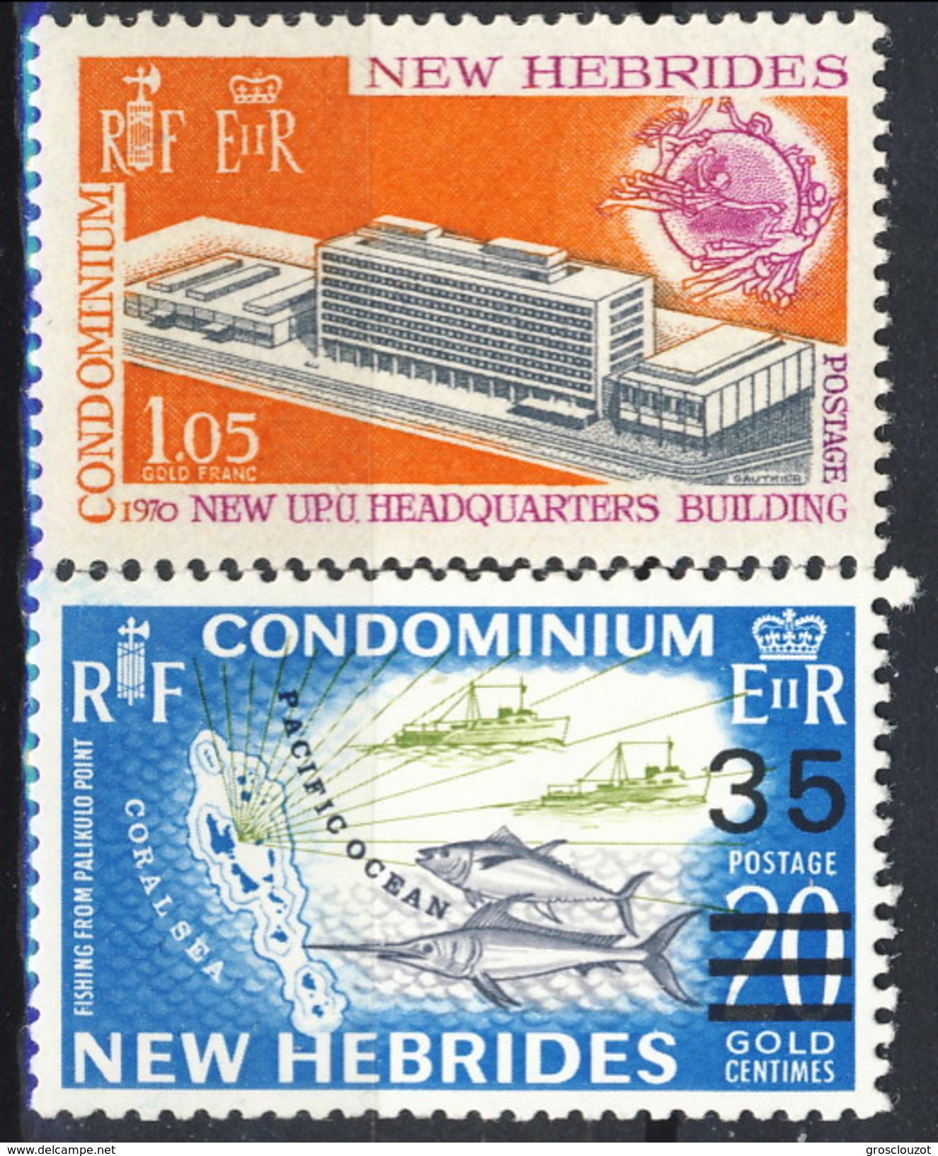 New Hebrides 1970 N. 293 E N. 299 MNH Cat. € 3.60 - Leggenda Inglese