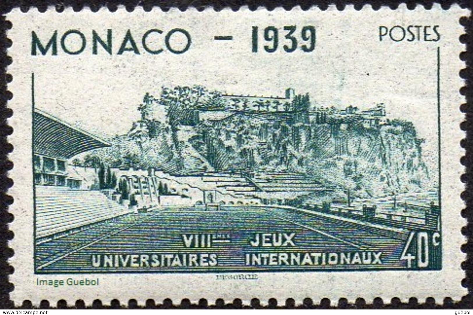 Monaco - N°  195,* Le Rocher Et Stade Louis II - 40c Vert - Unused Stamps