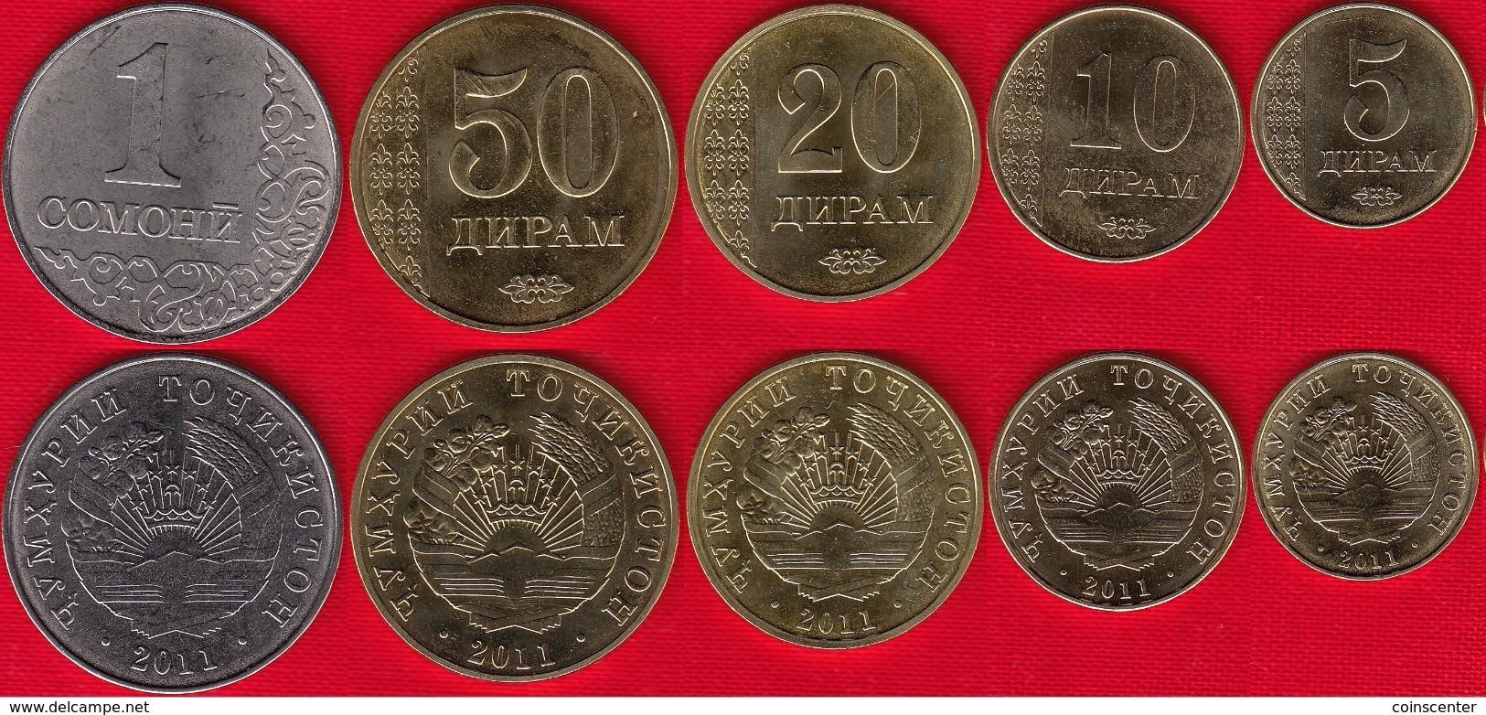Tajikistan Set Of 5 Coins: 5 Diram - 1 Somoni 2011 UNC - Tadjikistan