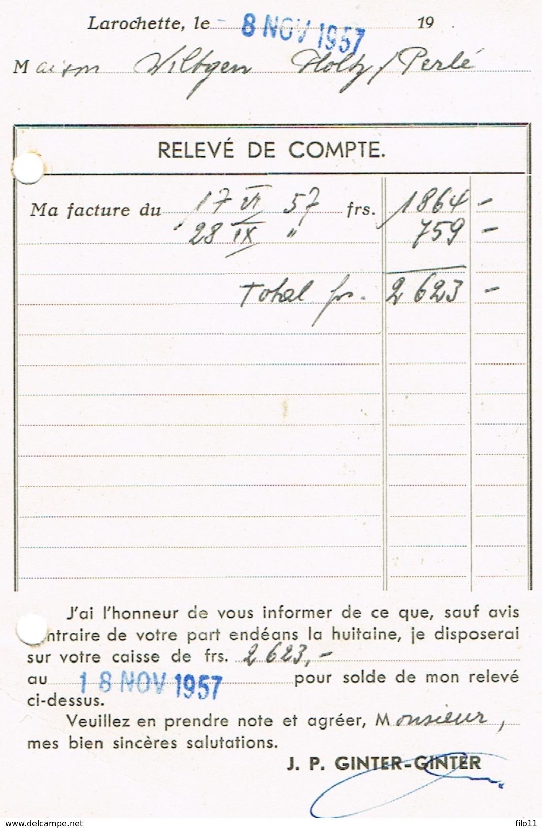 Larochette J.P.Ginter-Ginter (Relevé De Compte) 1957 - Stamped Stationery