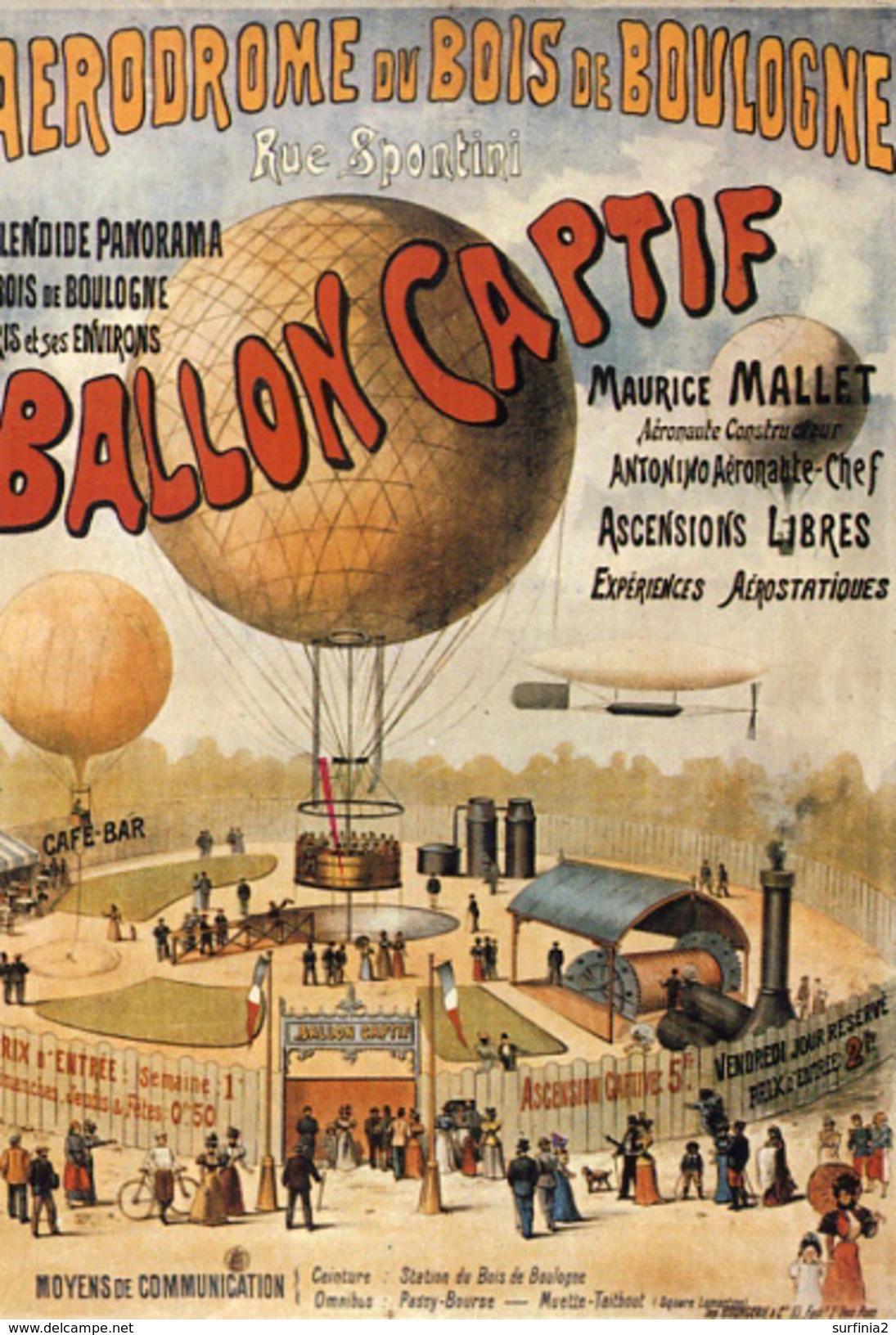 AERODROME DU BOIS DE BOULOGNE - BALLON CAPTIF - REPRO  M361 - Advertising