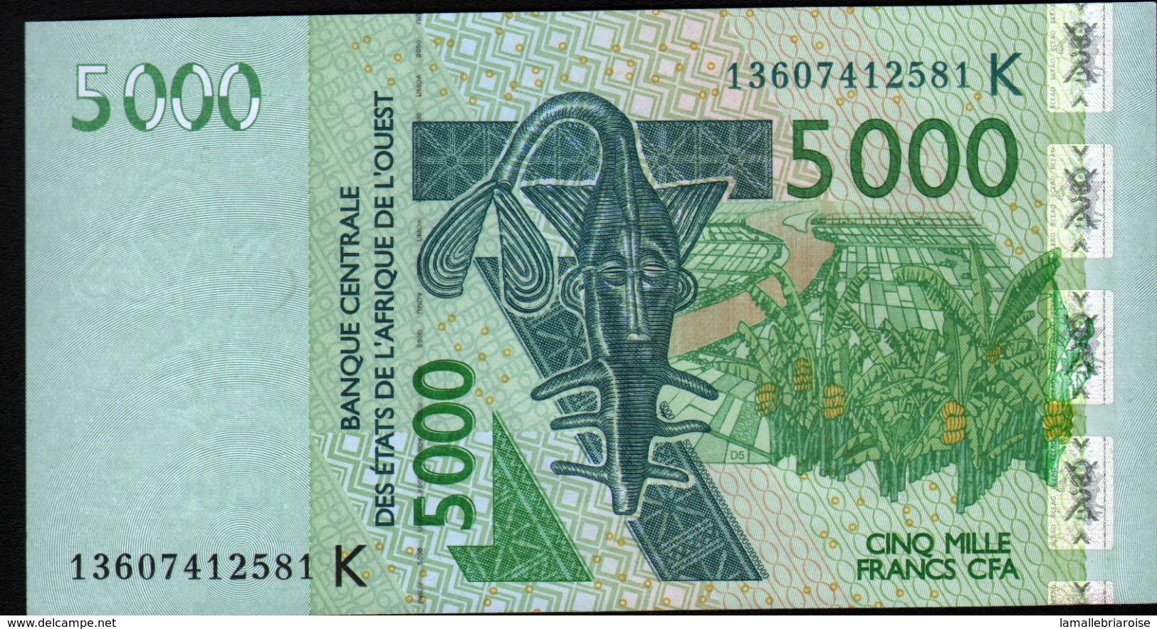 ÉTATS D´AFRIQUE DE L´OUEST 5000 Francs 2003 (lettre K: Sénégal) , Verso Kobus Kob Kob, Cobe De Buffon - États D'Afrique De L'Ouest