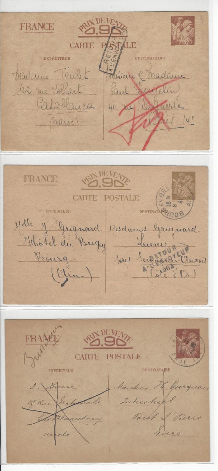 3 ENTIERS ENTIER INTERZONE IRIS INADMIS MAROC PARIS SEMUR BOURG PONT ST PIERRE CASTELNAUDARY /FREE SHIPPING R - Guerre De 1939-45