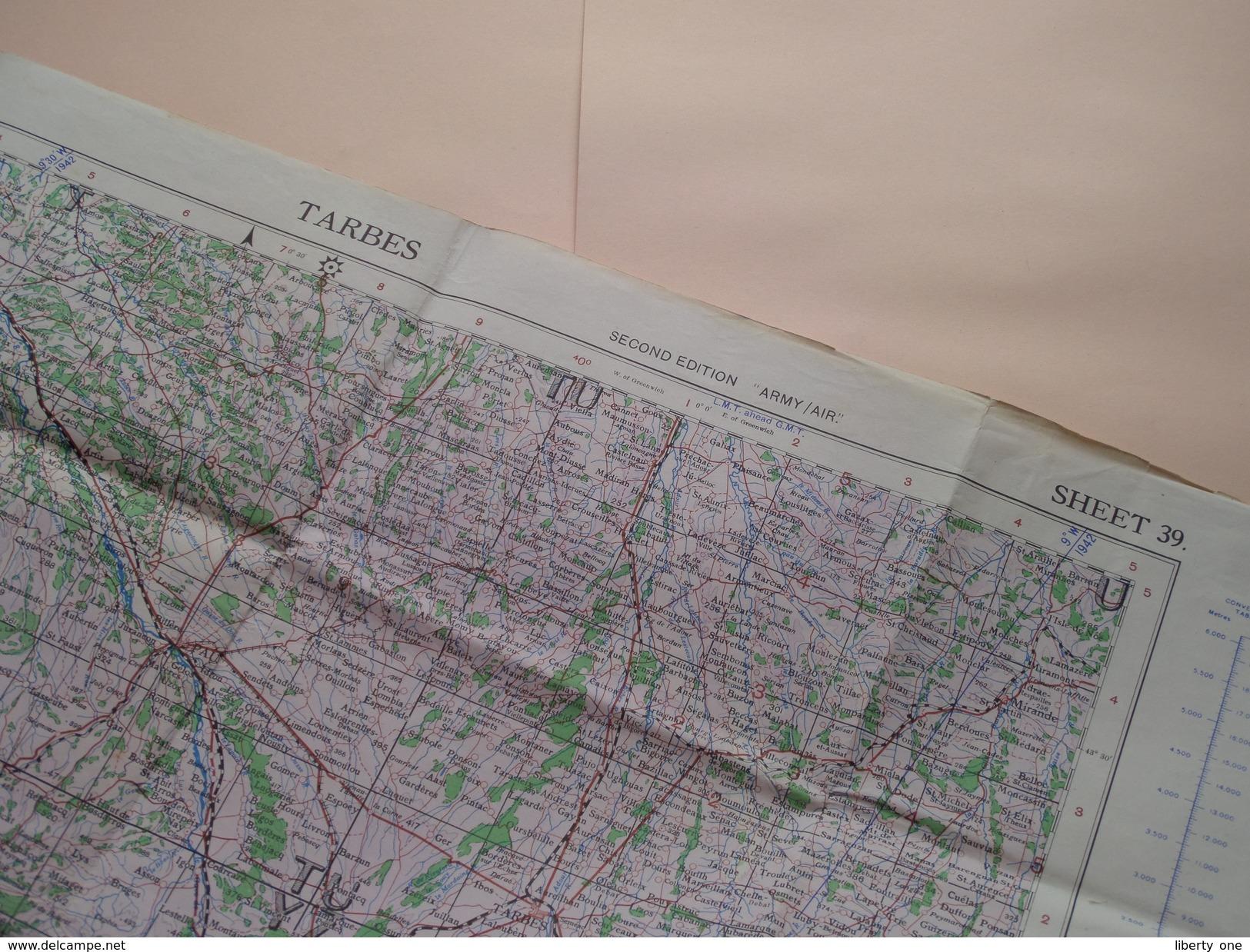 TARBES Sheet 39 - Second Ed. Army/Air 1/250.000 - 1941 2nd 43 / N° 2738 ( Formaat 58 X 78 Cm. ) Zie Foto´s ! - Europe