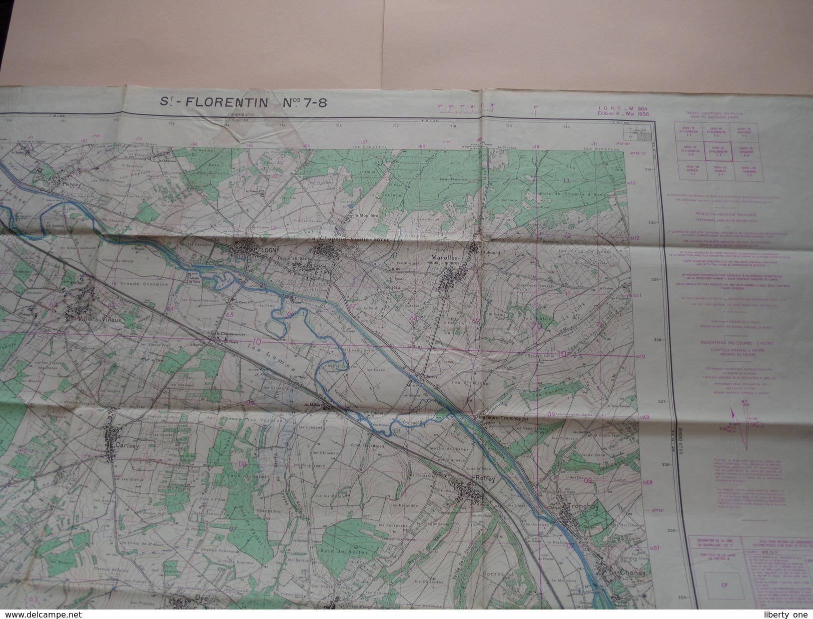 St. - FLORENTIN Nos 7-8 - 1/25.000 I.G.N.F. - M864 Ed.4 Mai 1956 ( Formaat 56 X 72 Cm. ) Zie Foto´s ! - Europe