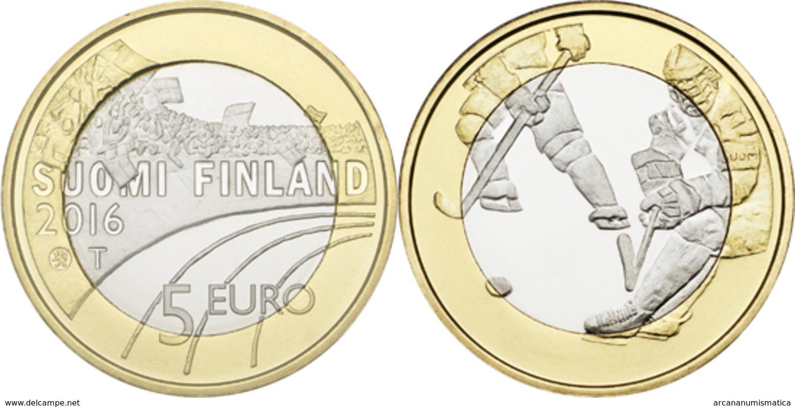 "FINLANDIA / FINLAND  5€  2.016  2016  BIMETALICA  SC/UNC   ""ICE HOCKEY - HOCKEY HIELO""   T-DL-11.899 - Finland"