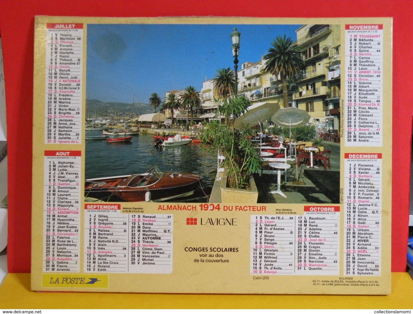 Calendrier > Les Paysages La Ciotat, Calvi - Almanach Des P.T.T. 1994 Vendu En état - Calendriers