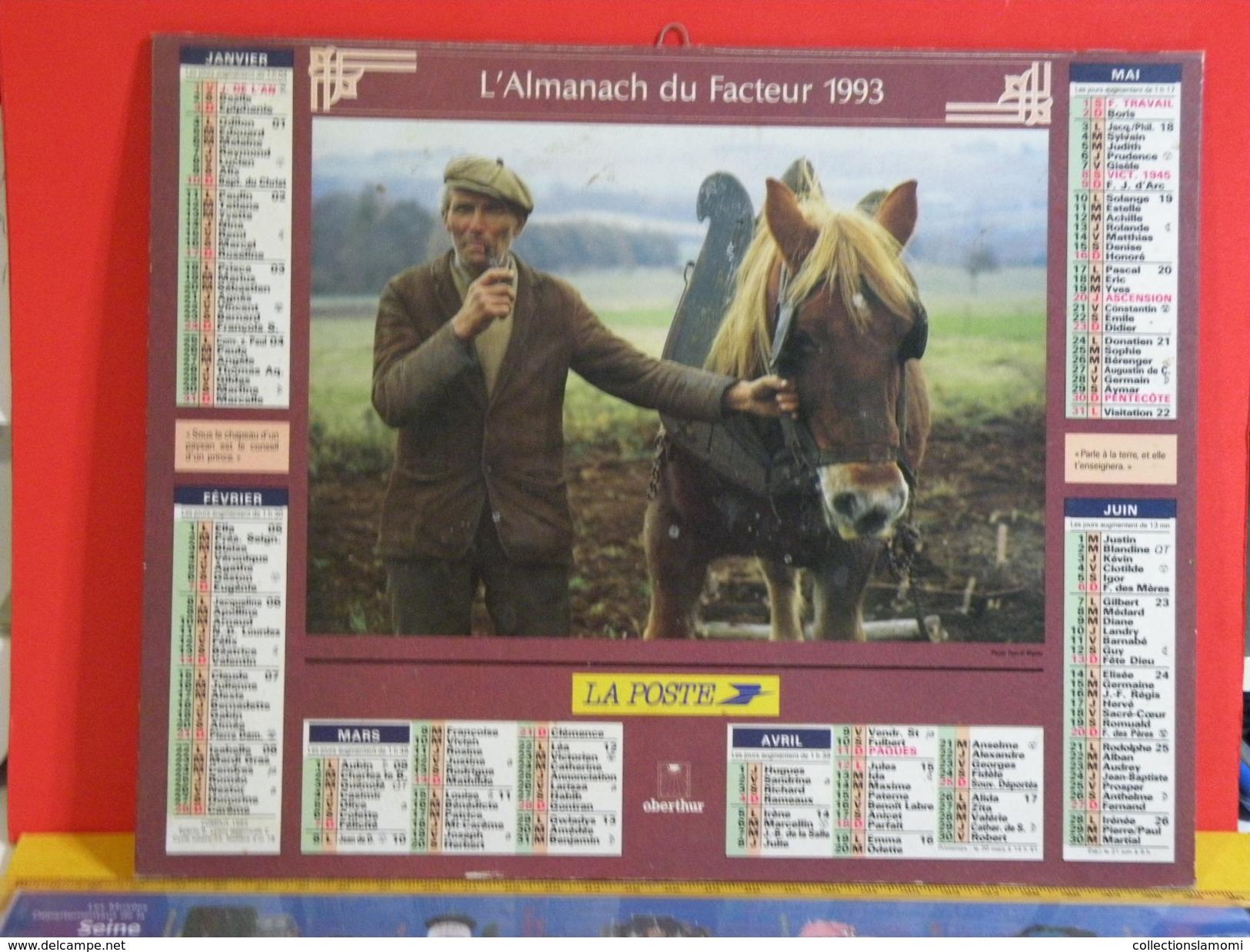 Calendrier > Le Veille Homme Et Son Cheval - Les Hommes Coupe L'herbe - Almanach Des P.T.T. 1993 Vendu En état - Calendriers