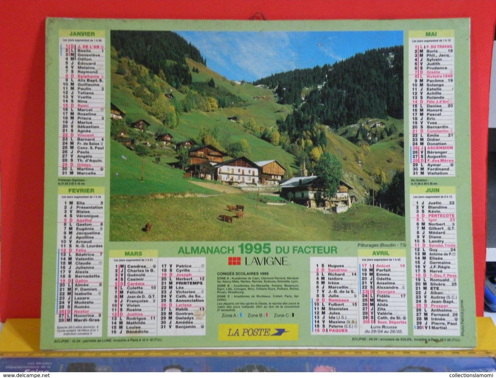 Calendrier > Boudin (73) - Scène Rurale - Almanach Des P.T.T. 1995 Vendu En état - Grand Format : 1991-00
