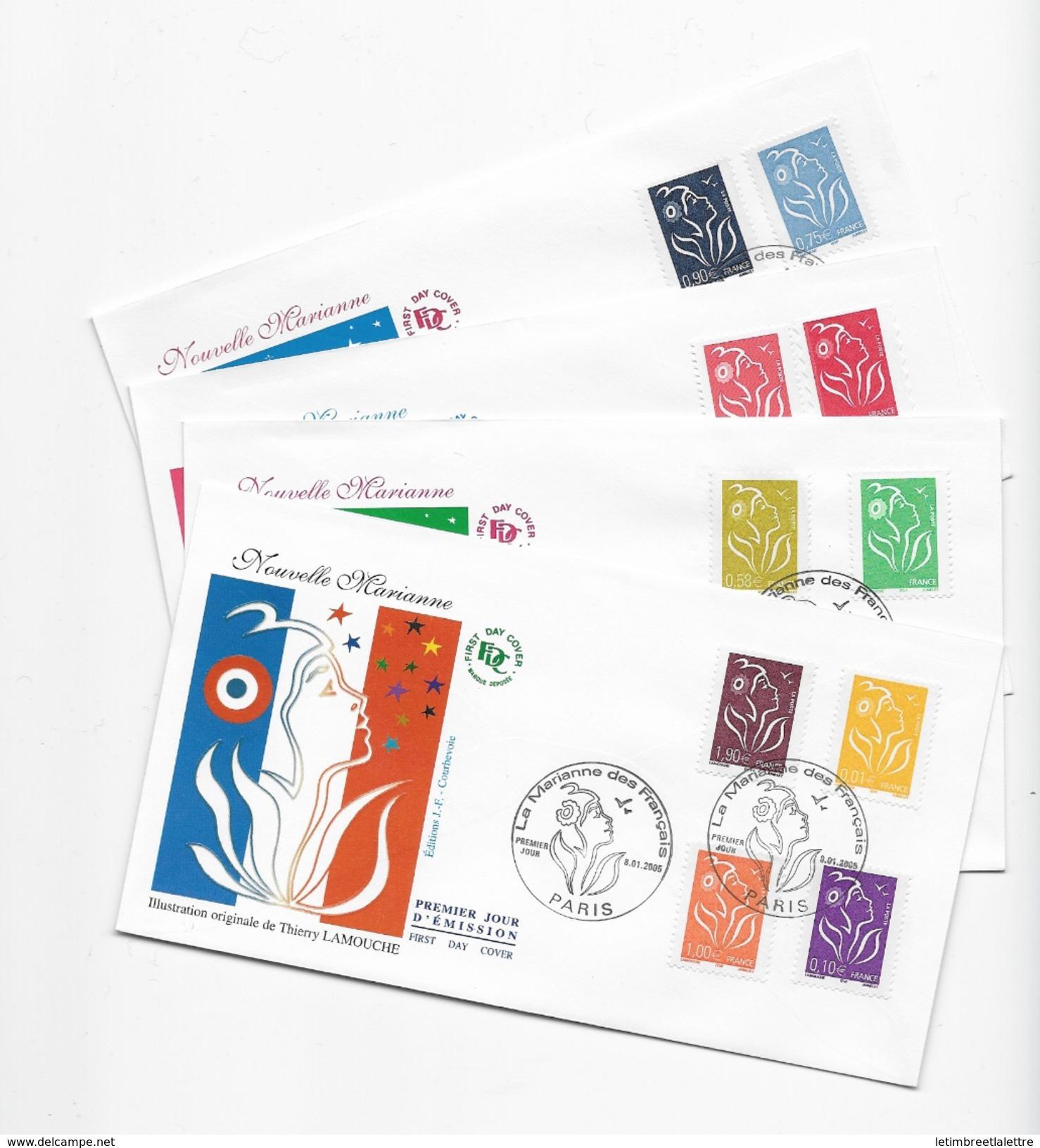"Enveloppes  1er Jour FDC .2005 4 Enveloppes Nouvelle Marianne"" - FDC"