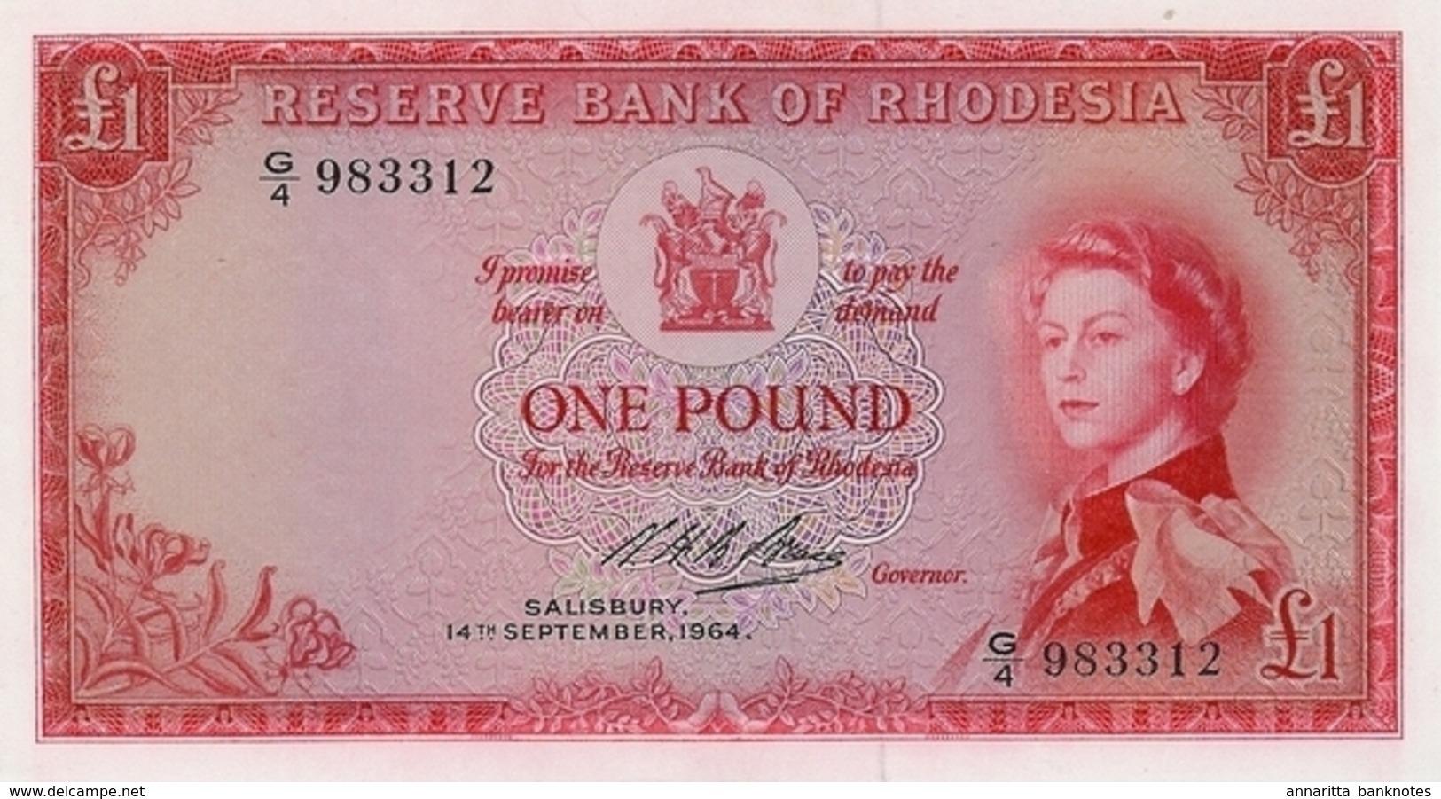 * RHODESIA 1 POUND 14.9.1964 P-25 UNC  [RHO102d] - Rhodesia