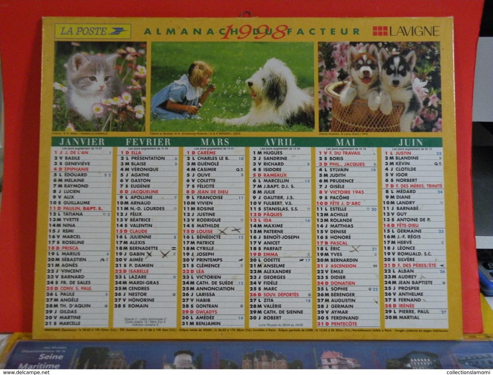 Calendrier > Nos Amis Chat Chien, Paysages De France - Almanach Des P.T.T. 1998 - Vendu En état - Grand Format : 1991-00