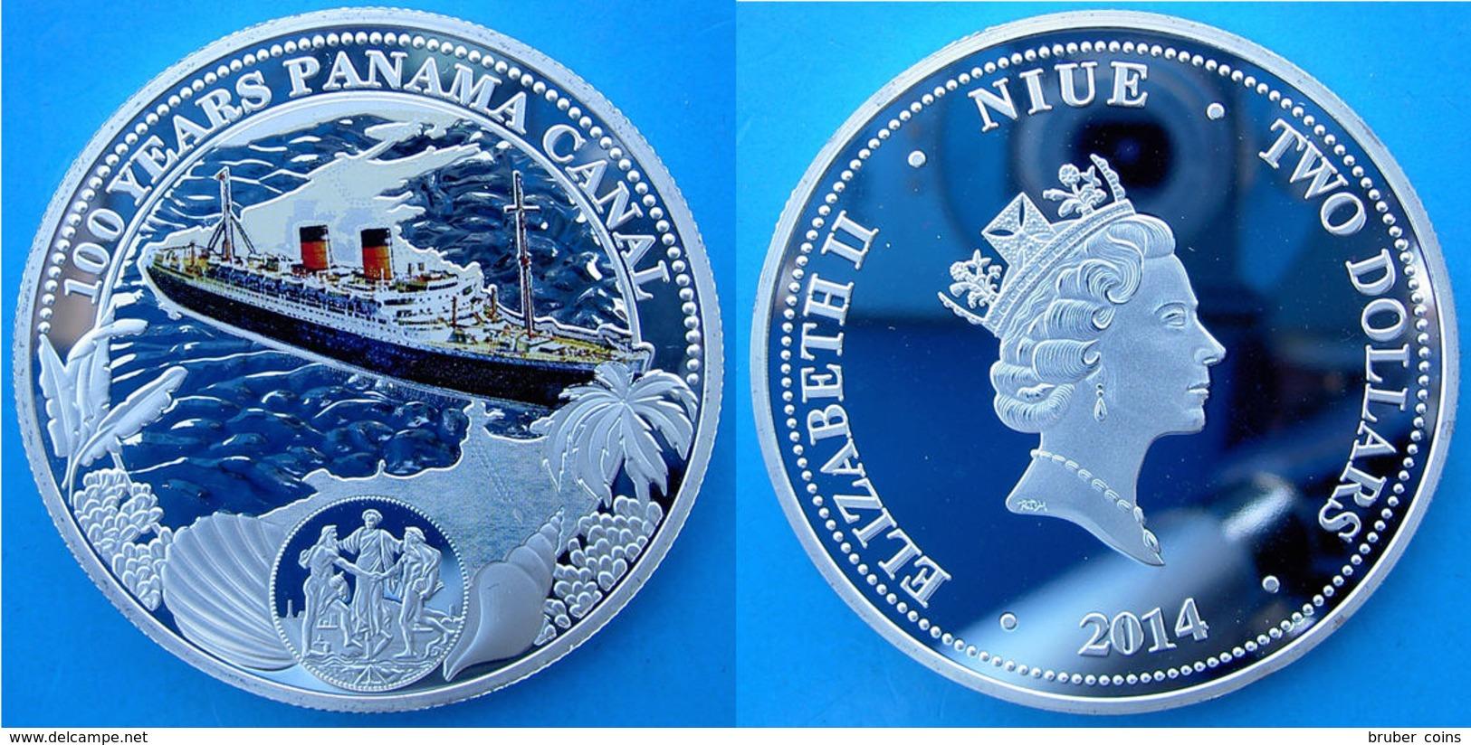 NIUE 2 DOLLARI 2014 100 ANNI CANALE DI PANAMA FONDO SPECCHIO NICHEL COLORED  DIAMETRO 5 CM SOUVENIR - Niue