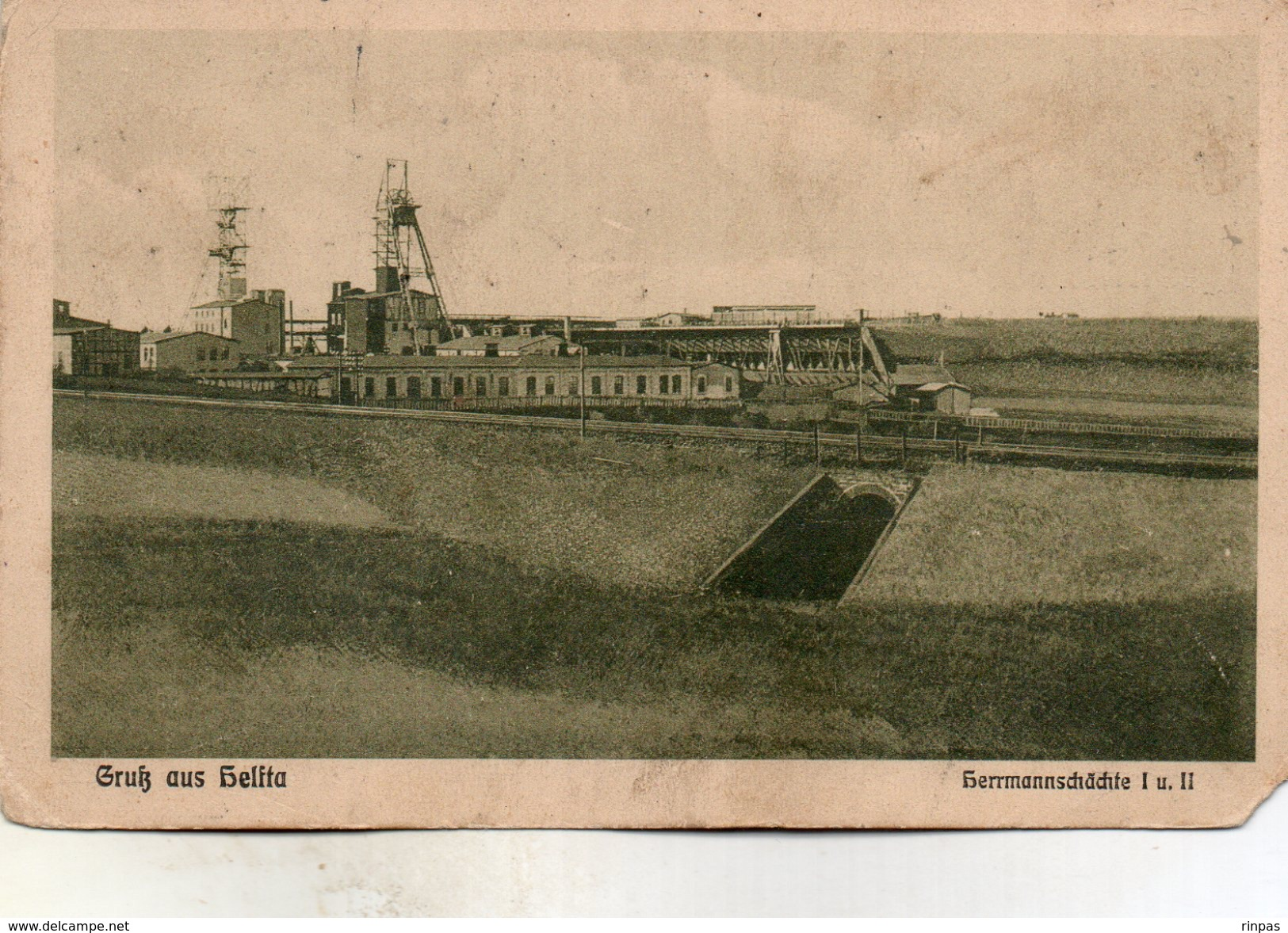 (Allemagne) HELFTA Gruss Aus Hermannschachte, Mine Chevalement Oblitéré P K Mulhausen Et Helfta En  1916 - Germany
