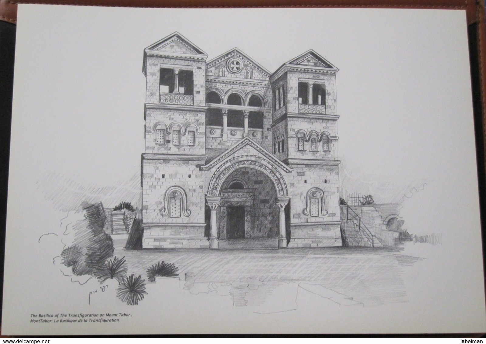 HOLY LAND DRAWING ILLUSTRATION PICTURE PAINTING TERRE SAINTE RAPHY MAYMON BASILICA MOUNT TABOR TRANSFIGURATION 23 X 30 - Religion & Esotericism