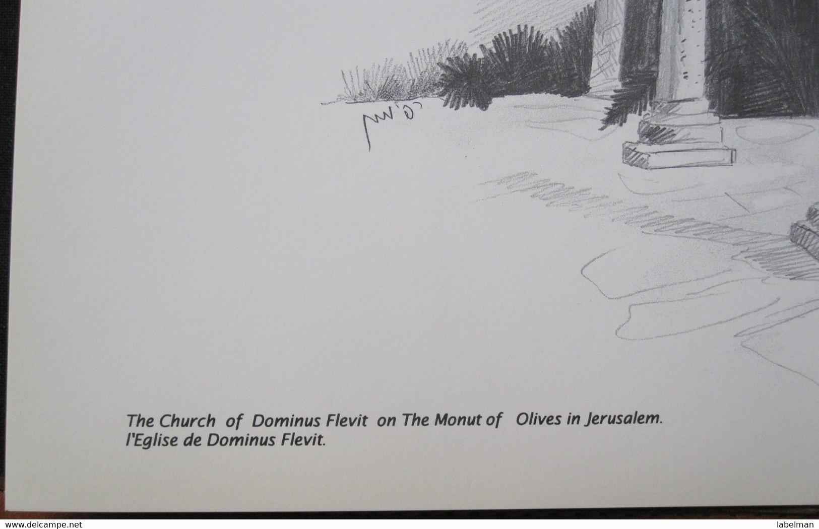 HOLY LAND DRAWING ILLUSTRATION PICTURE PAINTING TERRE SAINTE RAPHY CHURCH DOMINUS FLEVIT JERUSALEM EGLISE 23 X 30 - Religion & Esotericism