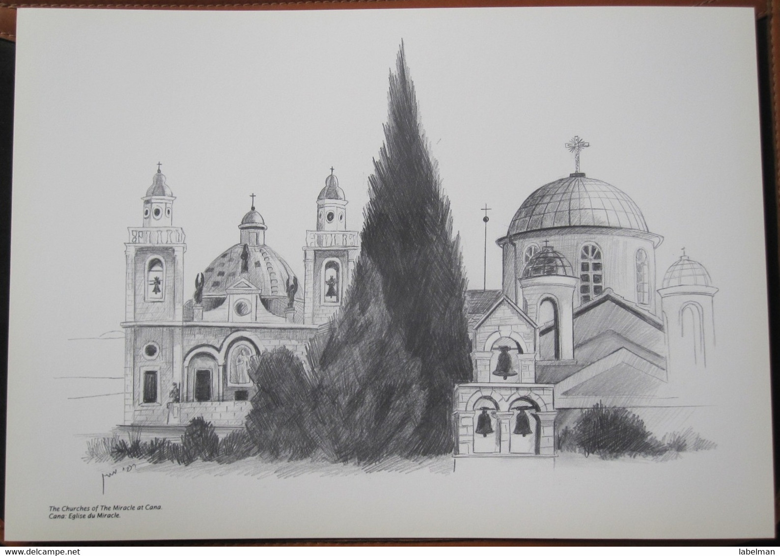 HOLY LAND DRAWING ILLUSTRATION PICTURE PAINTING TERRE SAINTE RAPHY CHURCH OF MIRACLE CANA 23 X 30 - Religion & Esotericism