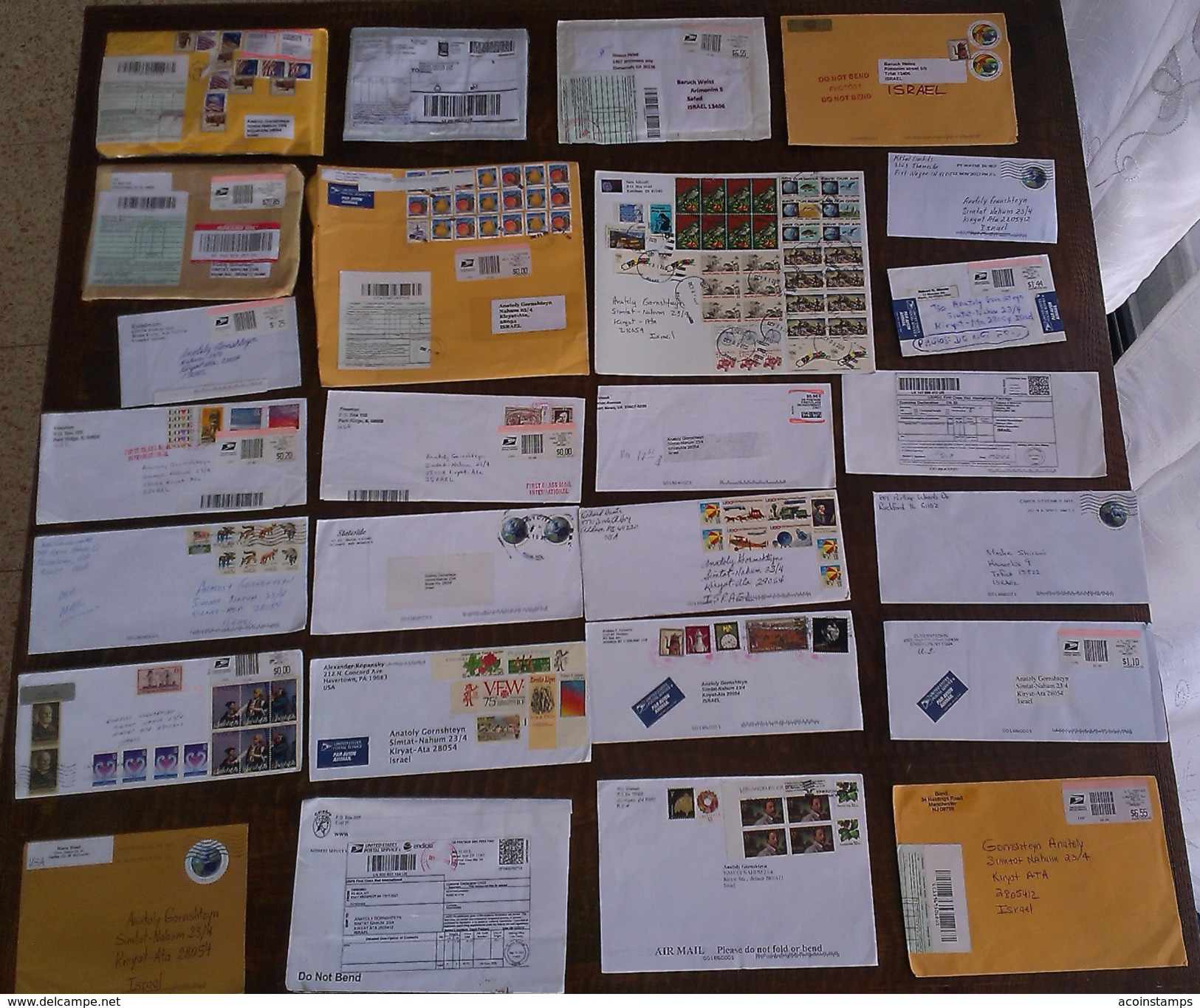 USA UNITED STATES US To ISRAEL Postal History Stationery BIG LOT Collection Covers & Stamps,AIRMAIL - 2011-...