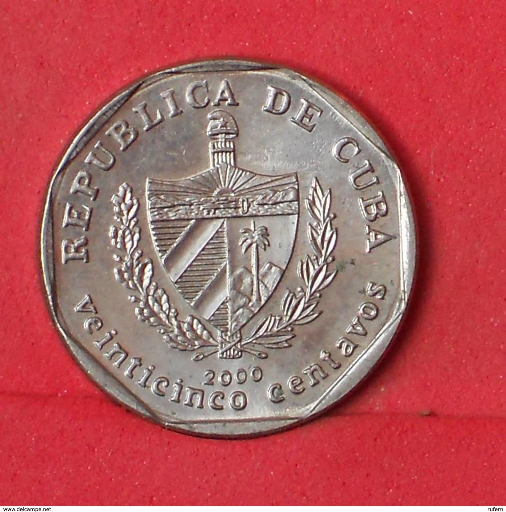 CUBA 25 CENTIMOS 2000 -    KM# 577,2 - (Nº17389) - Cuba