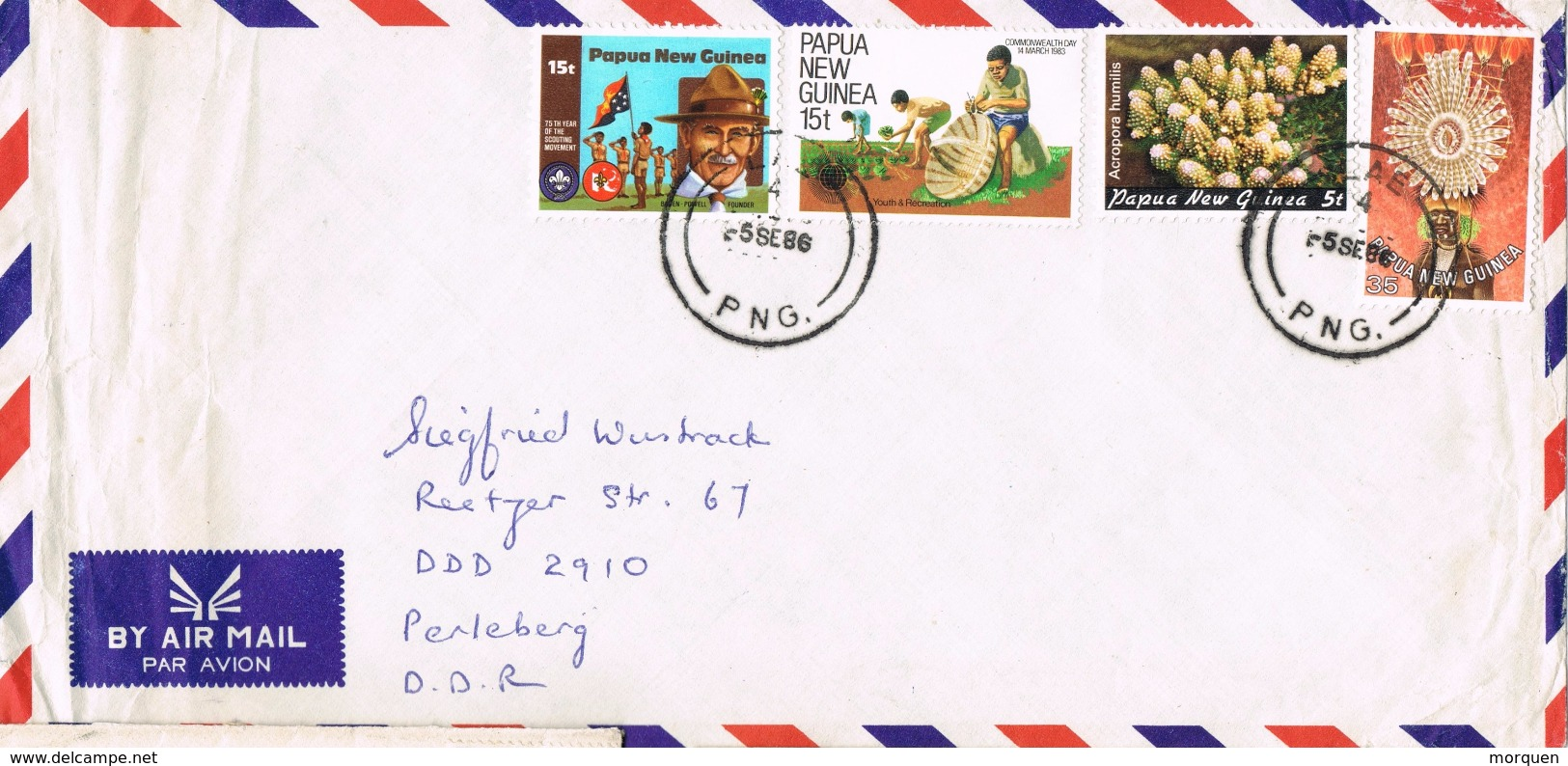 22014. Carta Aerea LAE (papua Y Nueva Guinea) 1986 - Papouasie-Nouvelle-Guinée