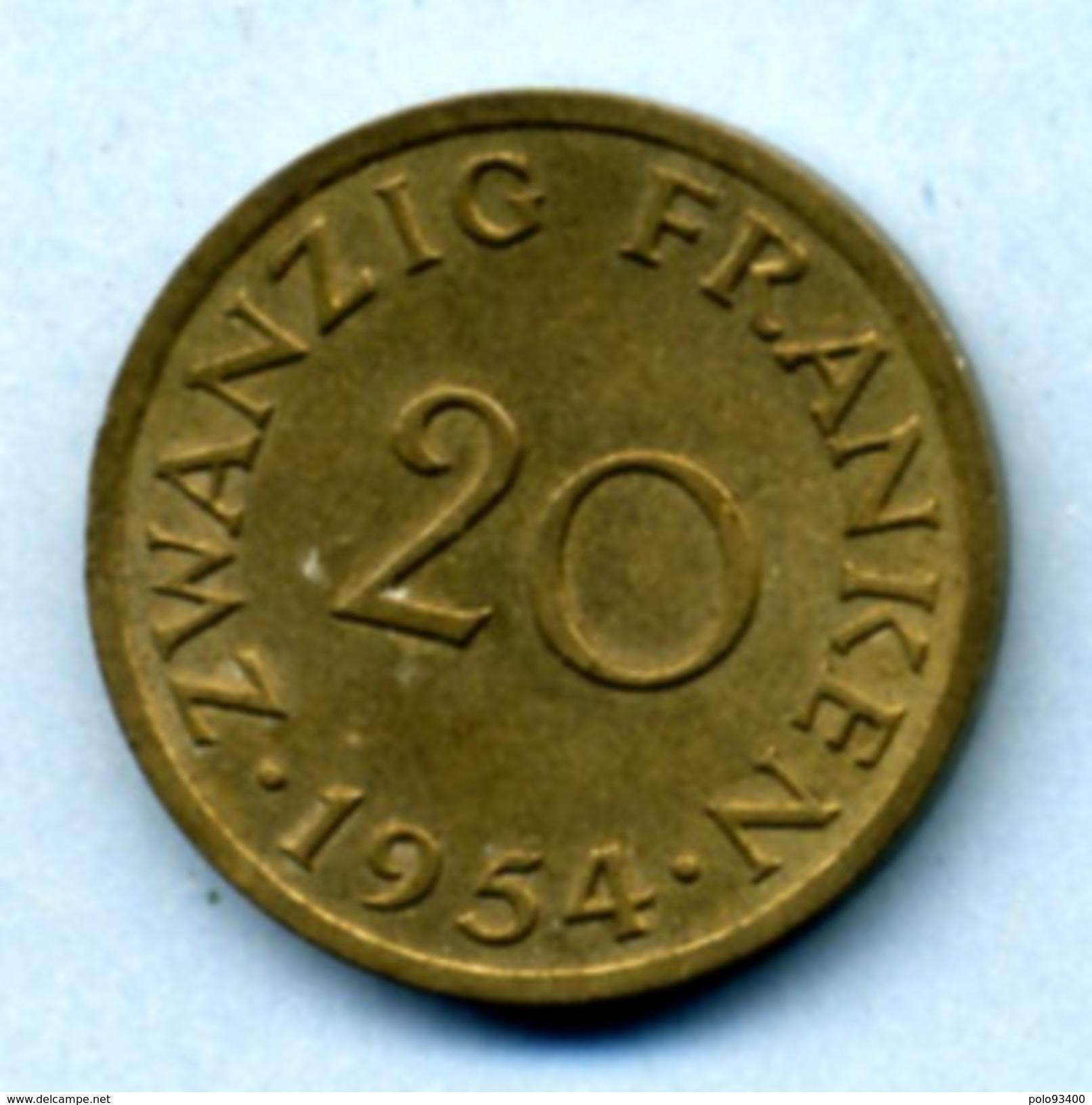 1954 20 FRANKEN - Saar