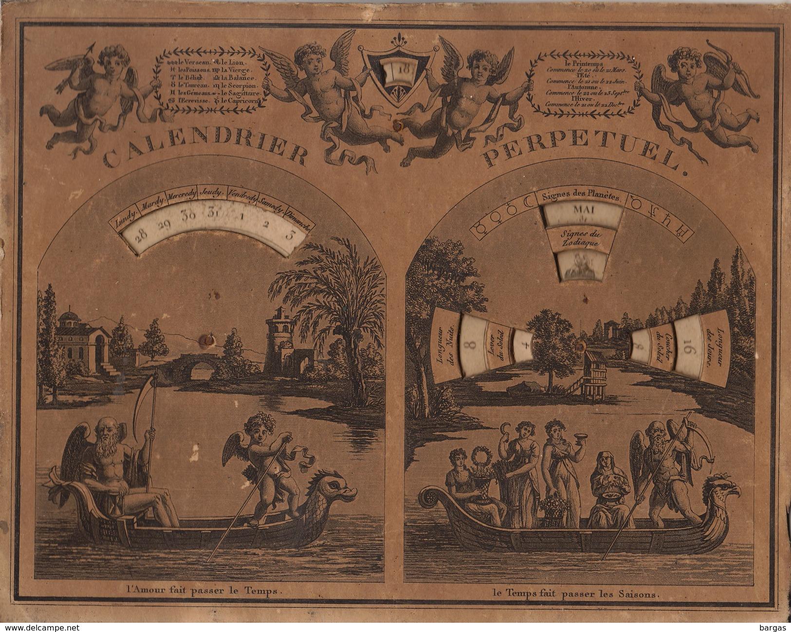 Rare Ancien Calendrier Perpétuel à Système Paris Chez Les Frères Noel Rue Saint Jacques N16 - Formato Grande : ...-1900