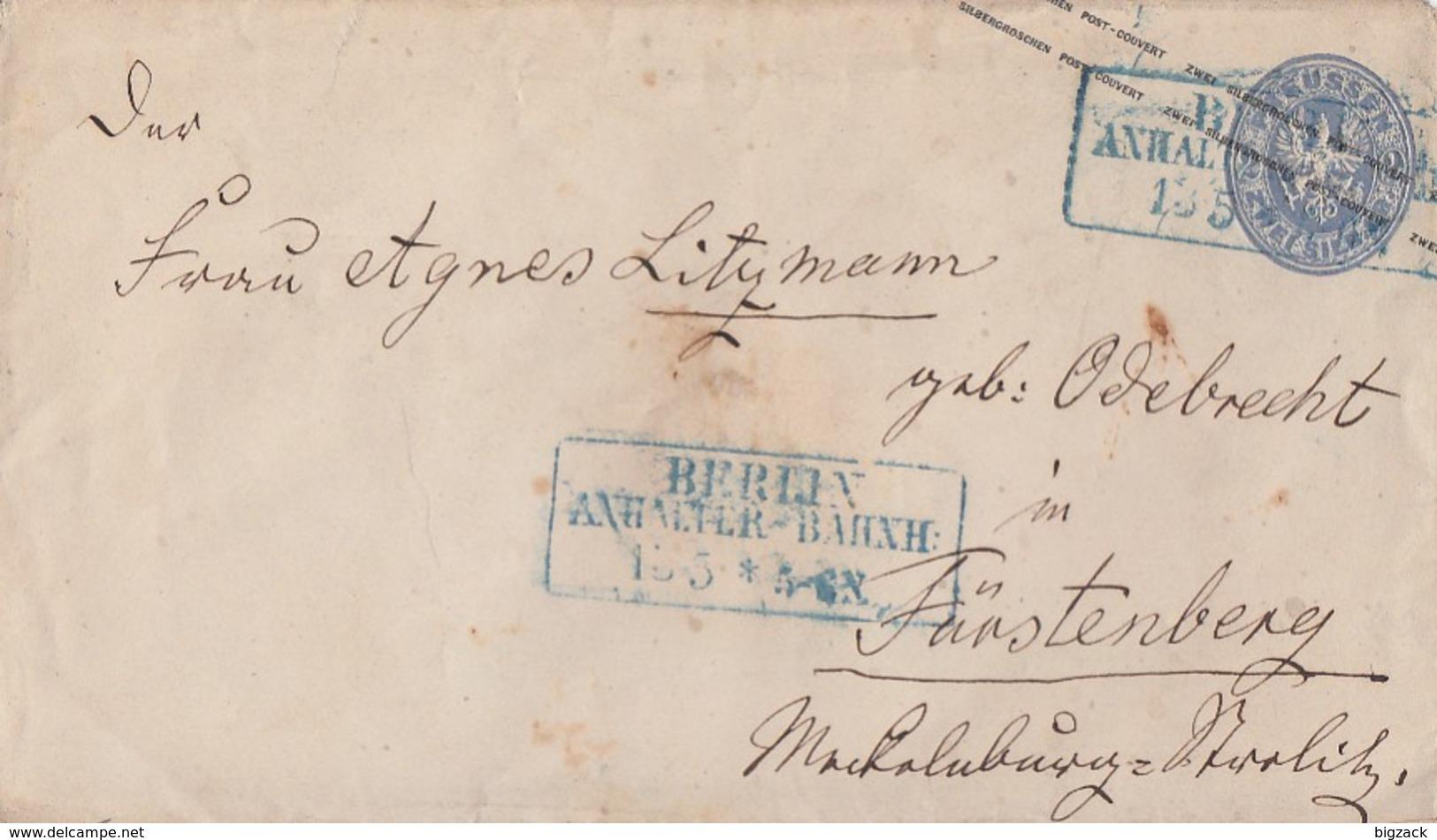 Preussen GS-Umschlag 2 Silb.Gr. Blauer R3 Berelin Anhalter-Bahnh. 13.5. Gel. Nach Fürstenberg - Preussen