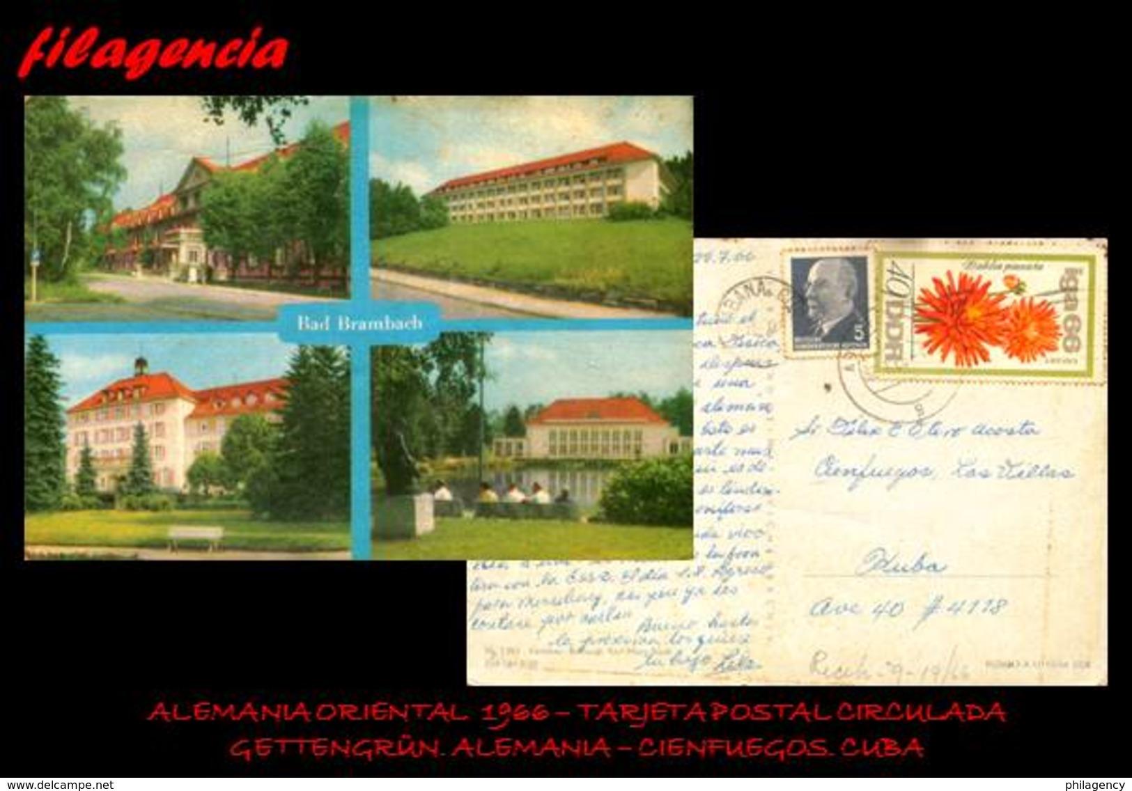 EUROPA. ALEMANIA ORIENTAL. ENTEROS POSTALES. TARJETA POSTAL CIRCULADA 1966. GETTENGRÜN. ALEMANIA-CIENFUEGOS. CUBA - [6] República Democrática