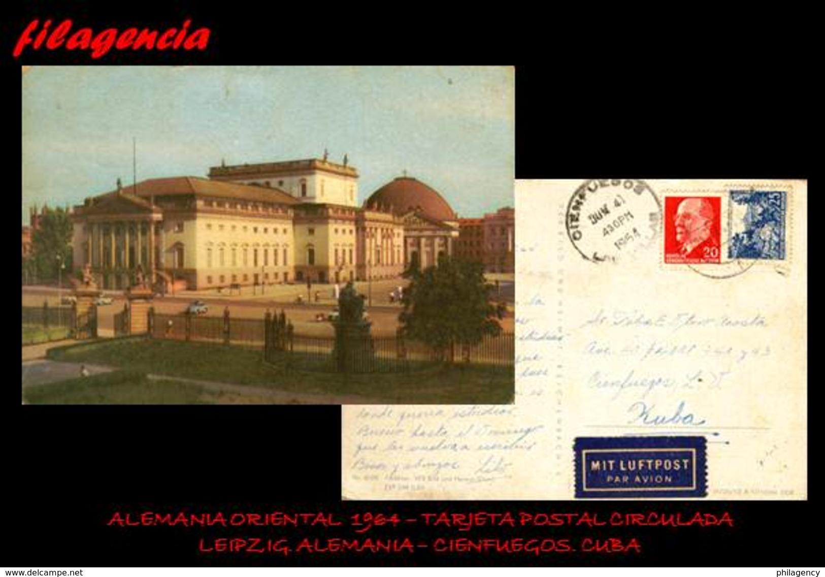 EUROPA. ALEMANIA ORIENTAL. ENTEROS POSTALES. TARJETA POSTAL CIRCULADA 1964. LEIPZIG. ALEMANIA ORIENTAL-CIENFUEGOS. CUBA - Postales - Usados