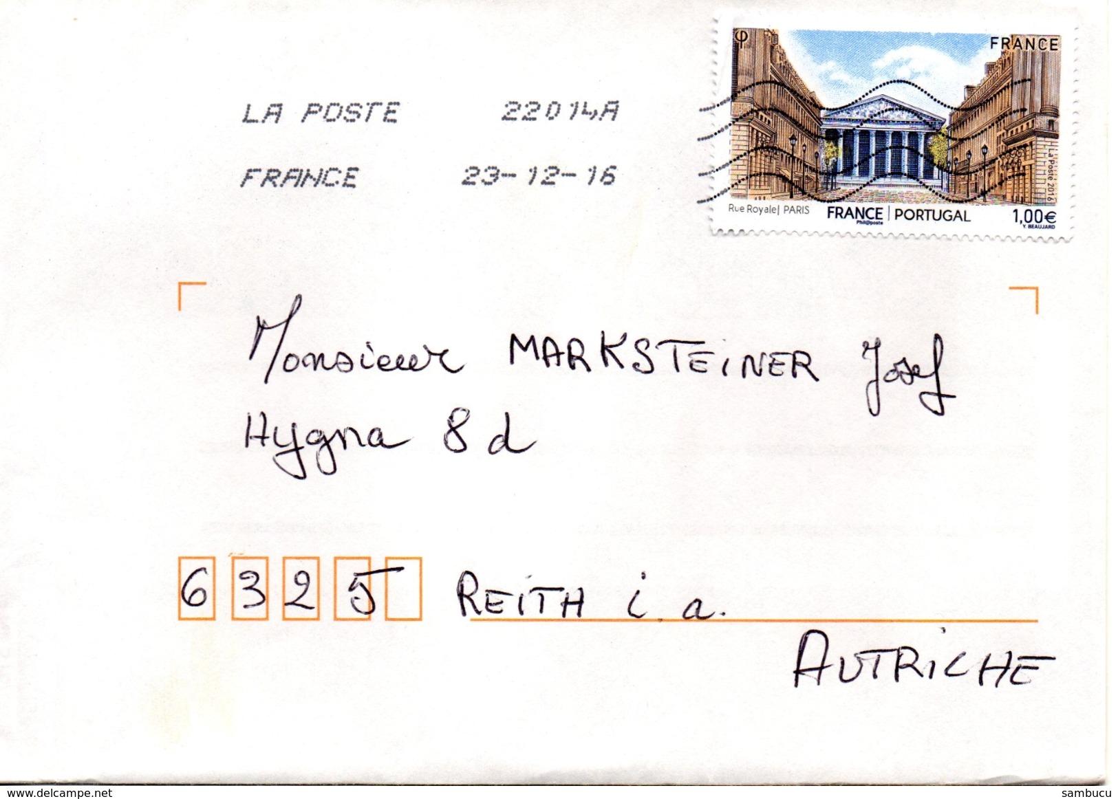 Auslands - Brief Von 22014A - 55120 Clermont-en-argonne Mit € 1,- Rue Royal Paris 2016 - Ohne Zuordnung