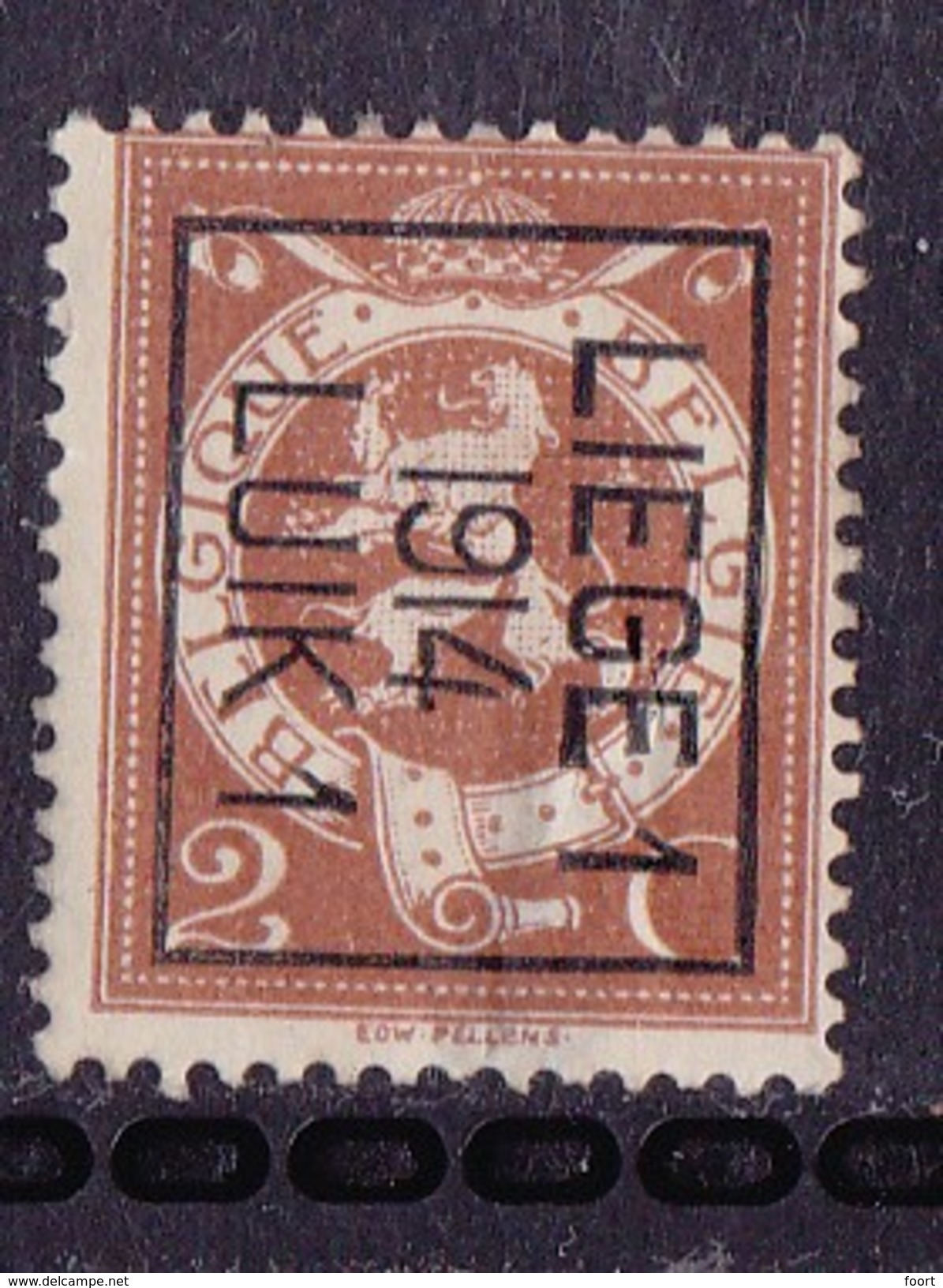 Luik  1914 Typo Nr.53Bzz  Dunne Plek - Precancels