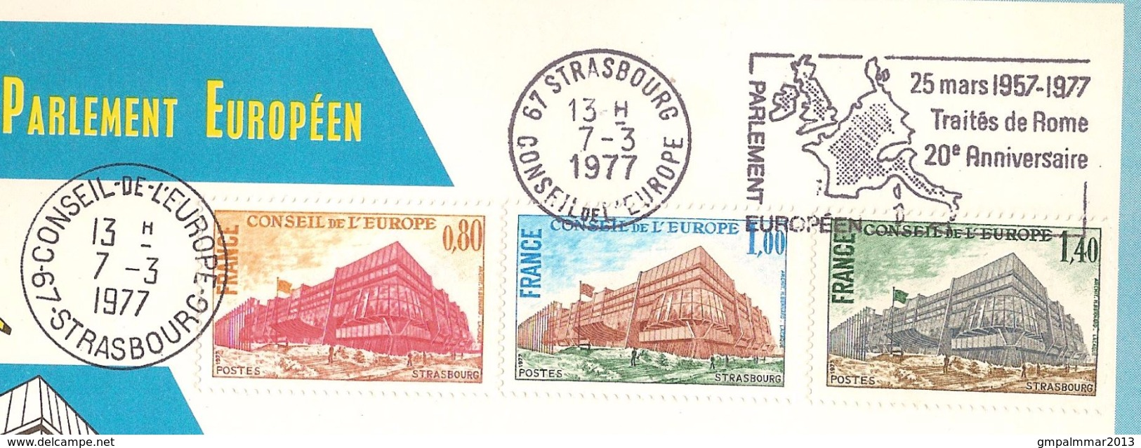 Carte De Souvenir PARLEMENT EUROPEEN Cachets STRASBOURG 1977 Et CONSEIL DE L'EUROPE ; Etat Voir 2 Scan ! Inzet 15 € - France