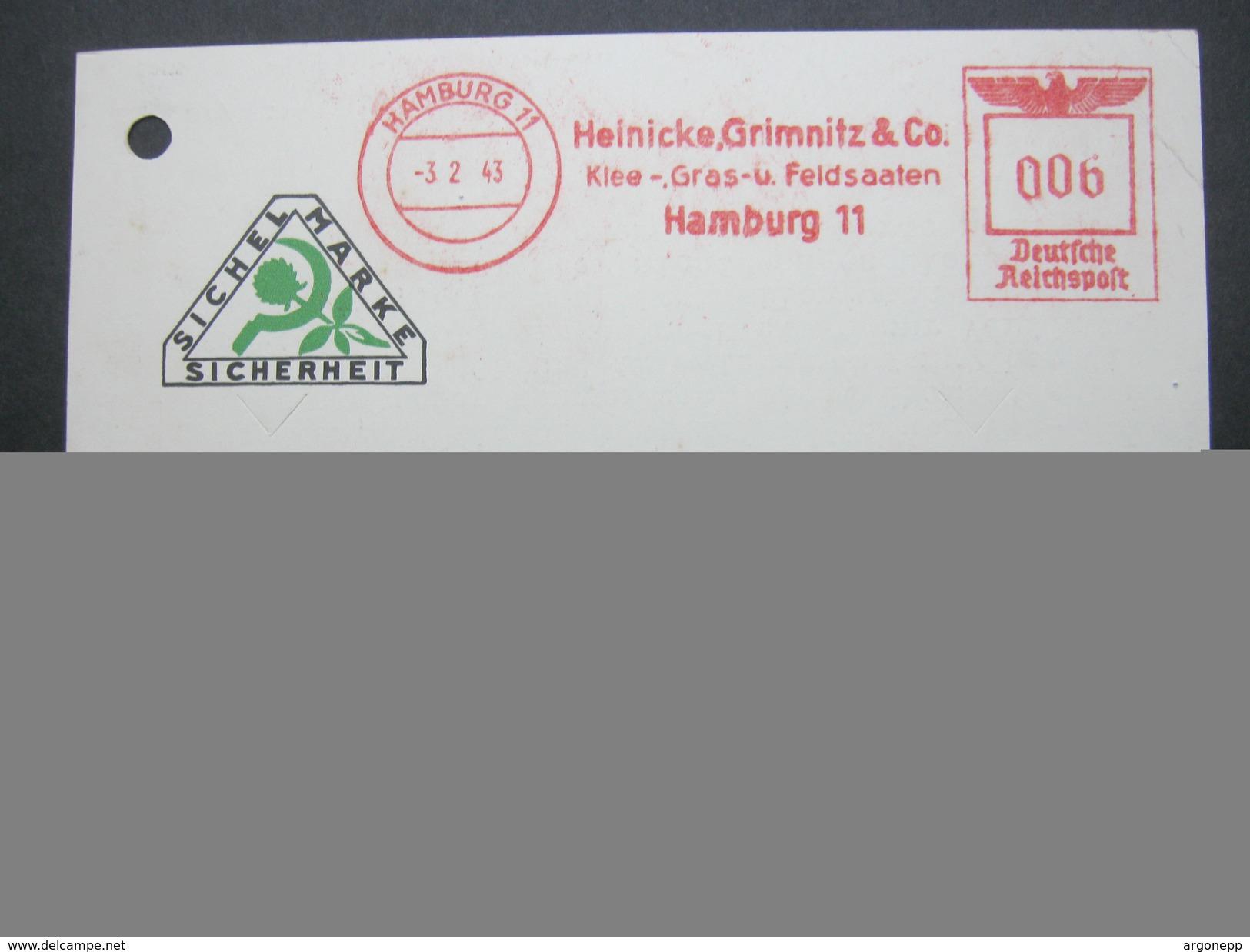 1943 , Hamburg  , Firmenfreistempel Auf Karte Aktenlochung, Die Karte Ist Komplett - Deutschland