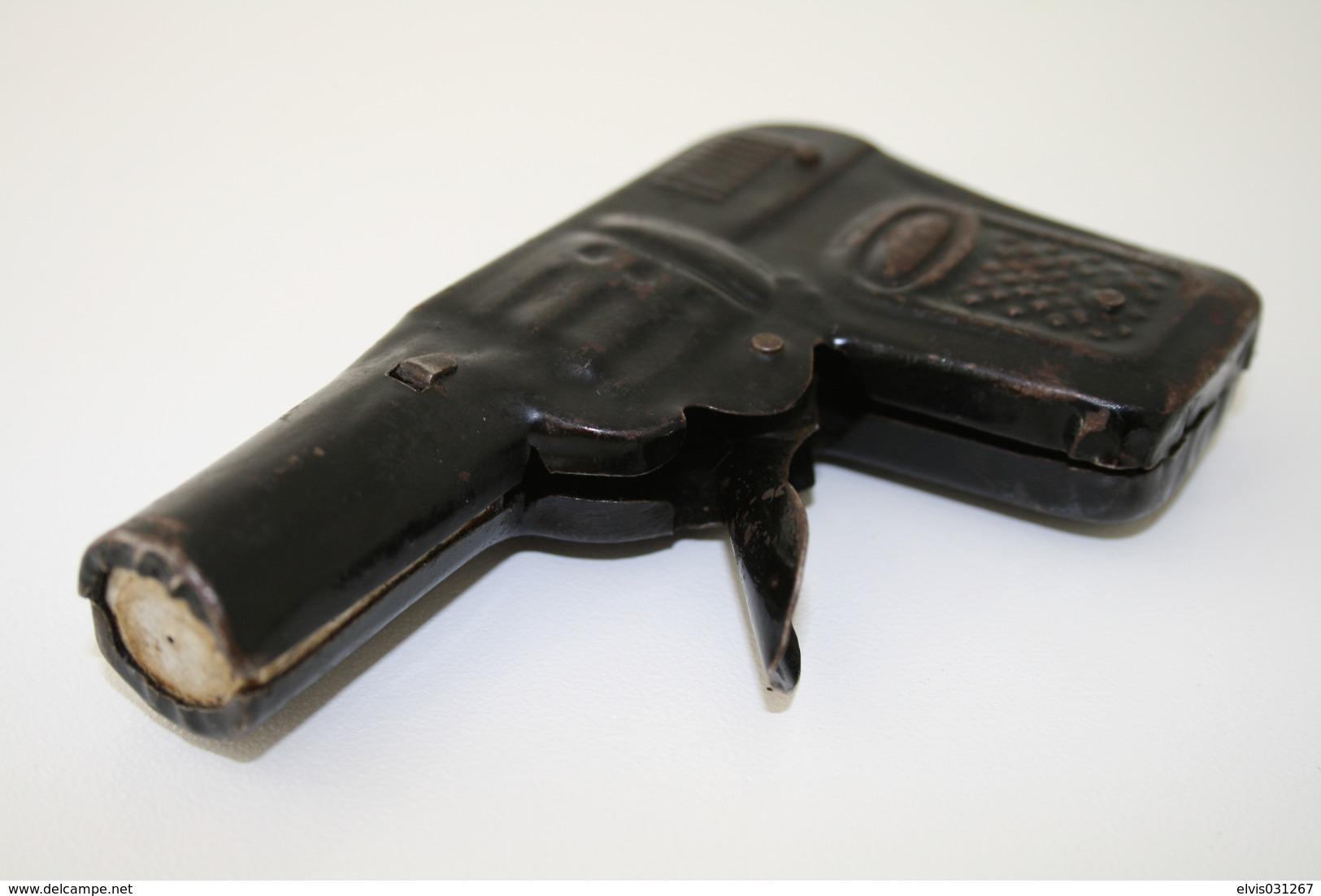 Vintage TOY GUN : JAPAN - L=10cm - 1940s-50s - Keywords : Cap Gun - Cork Gun - Rifle - Revolver - Pistol - Tin - Decotatieve Wapens