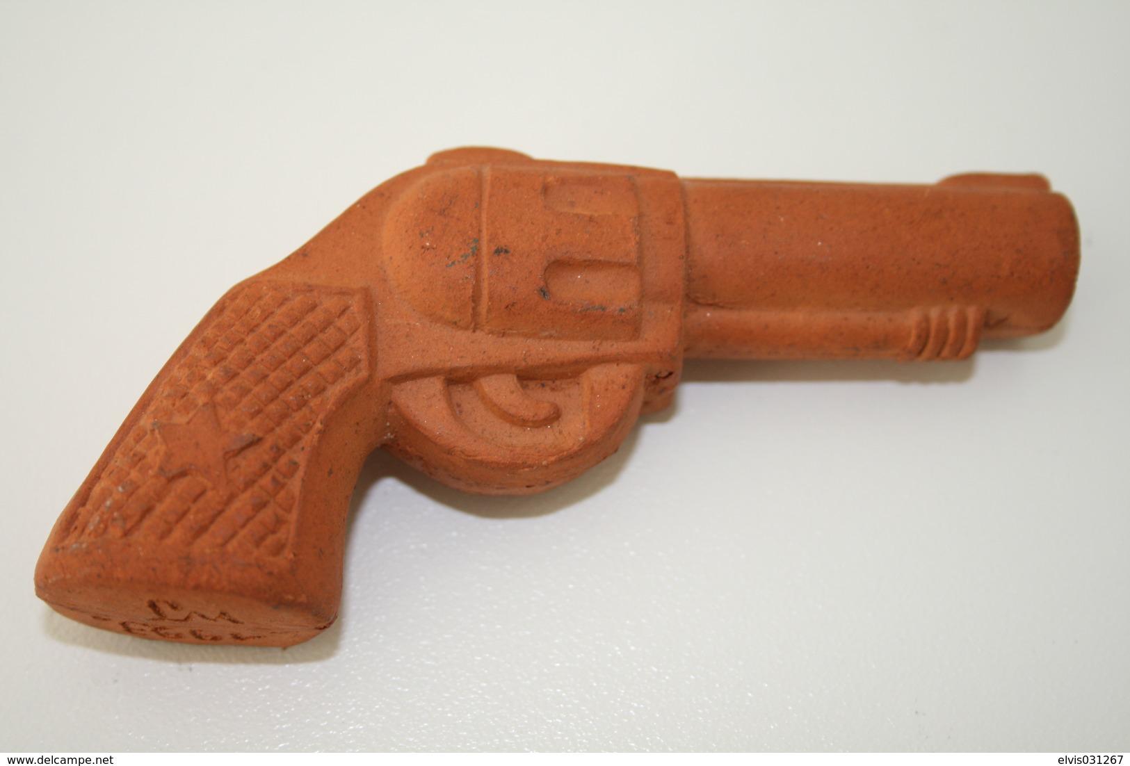 Vintage TOY GUN :  WJ Terracotta Gun - L=10cm - 1993 - Keywords : Cap - Cork Gun - Rifle - Revolver - Pistol - Tin - Sammlerwaffen
