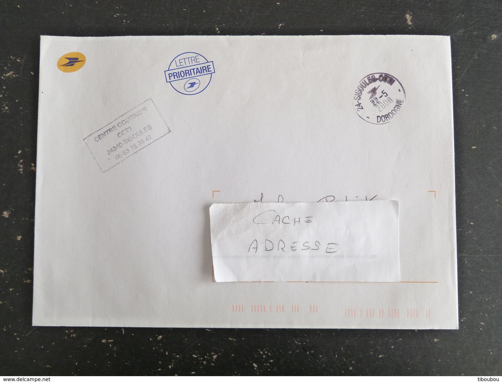 SIGOULES CCT1 - DORDOGNE - CACHET ROND MANUEL SUR ENVELOPPE SERVICE LA POSTE - Marcophilie (Lettres)