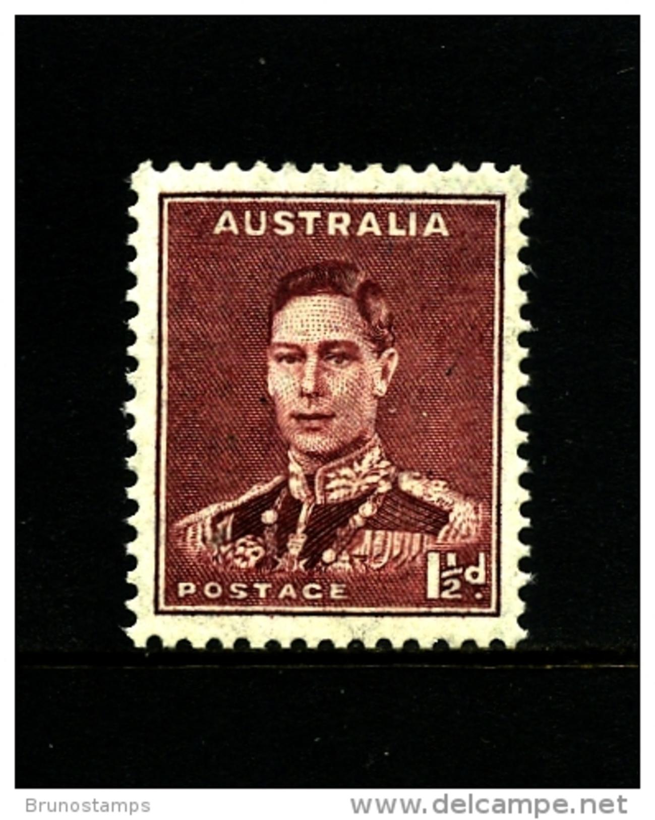 AUSTRALIA - 1937  DEFINITIVE  1 1/2 D  PERF. 13 1/2 X 14  MINT NH  SG 166 - 1937-52 George VI